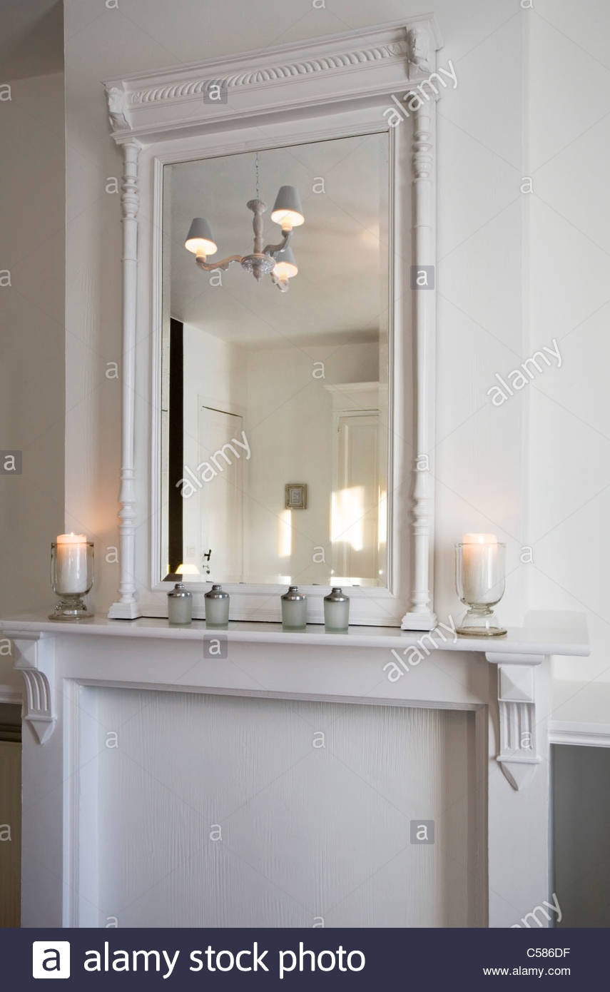 Mantelpiece With Mirror And Candles Stock Photo Royalty Free For Mantelpiece Mirror (Image 10 of 15)
