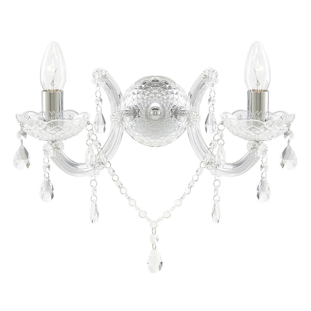 Marie Therese 2 Light Wall Light Chandelier Chrome From Pertaining To Chandelier Wall Lights (Image 8 of 15)