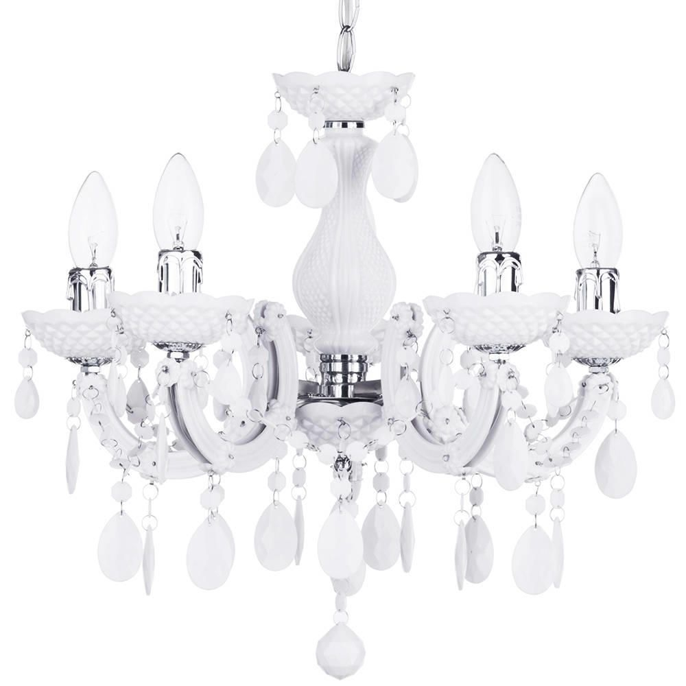 Marie Therese 5 Light Dual Mount Chandelier White From Litecraft Pertaining To White Chandelier (Image 9 of 15)