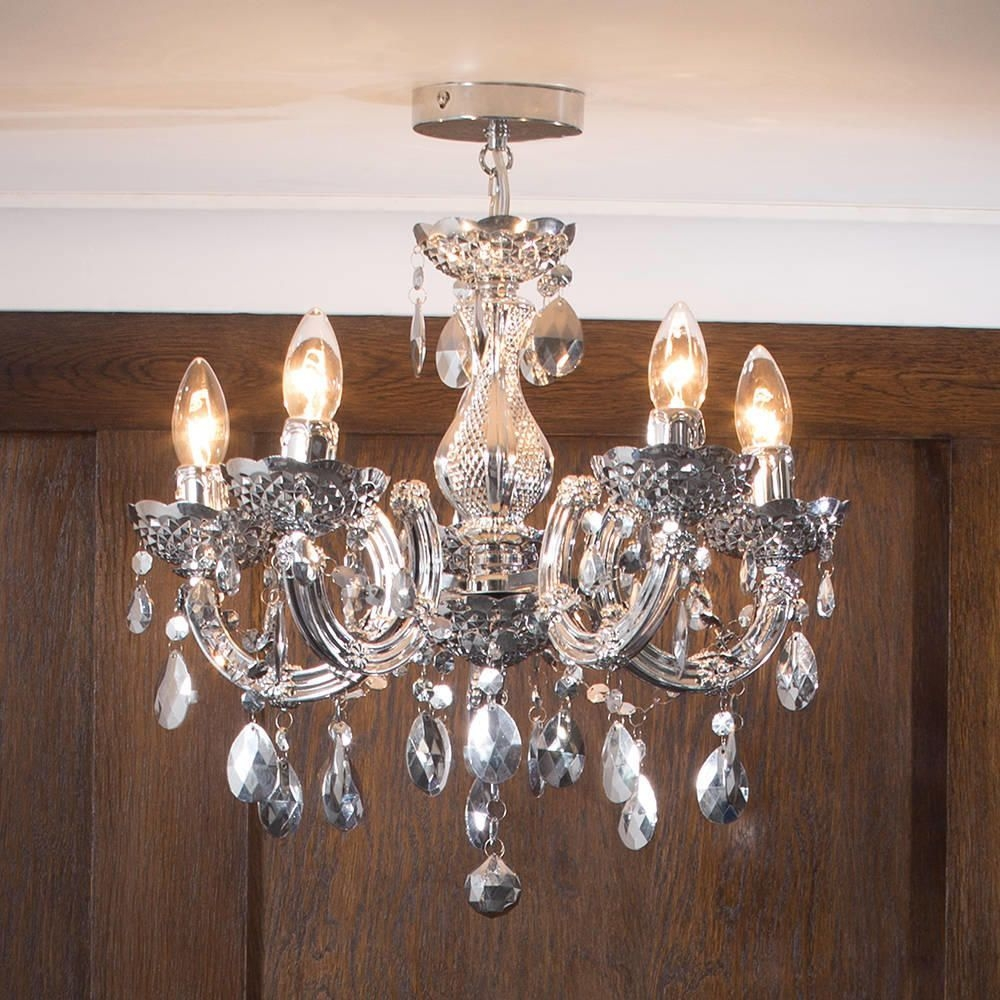 Marie Therese Chandelier 5 Light Dual Mount Silver From Litecraft Pertaining To Short Chandelier (Image 8 of 15)