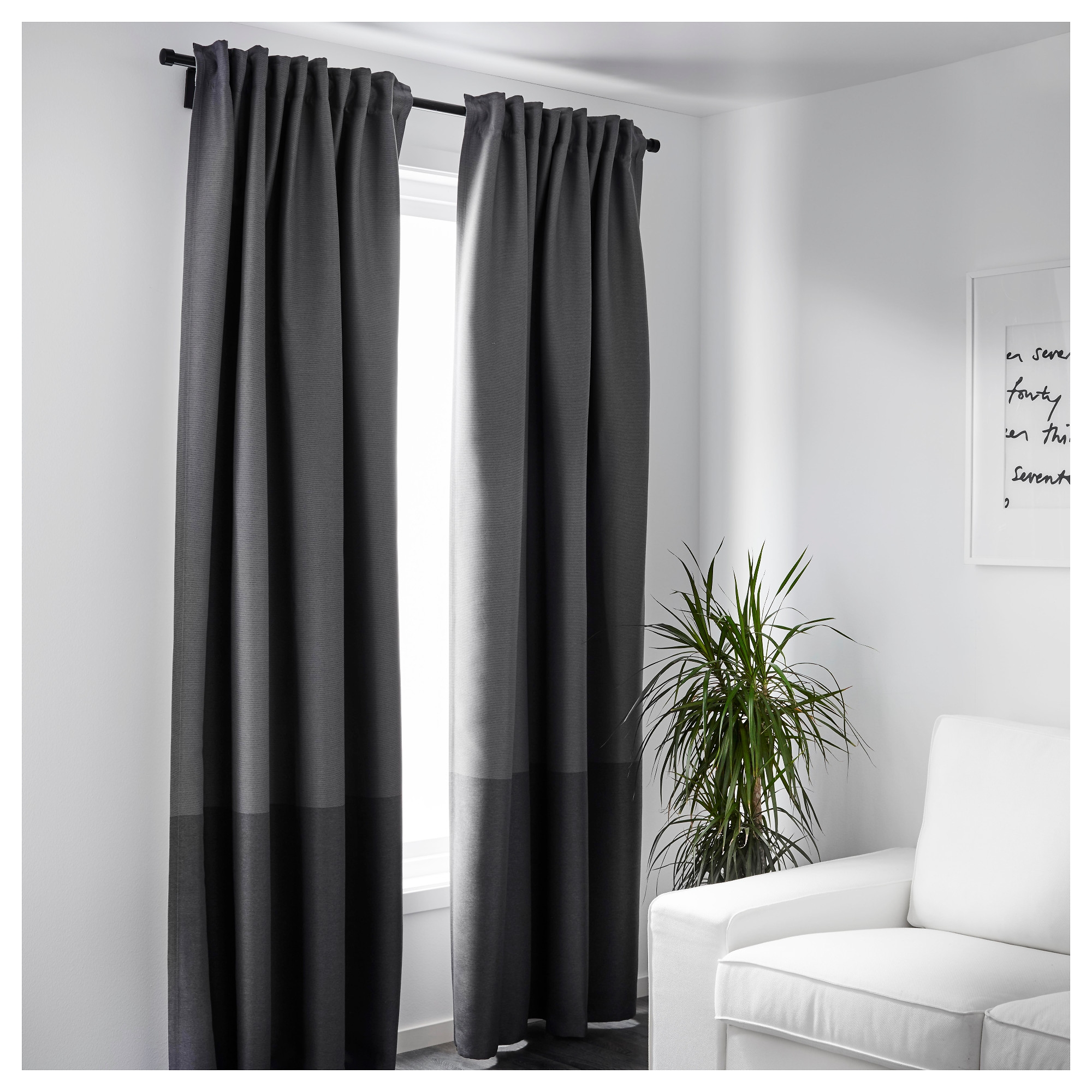 Marjun Blackout Curtains 1 Pair Ikea Pertaining To Thick Grey Curtains (View 3 of 15)