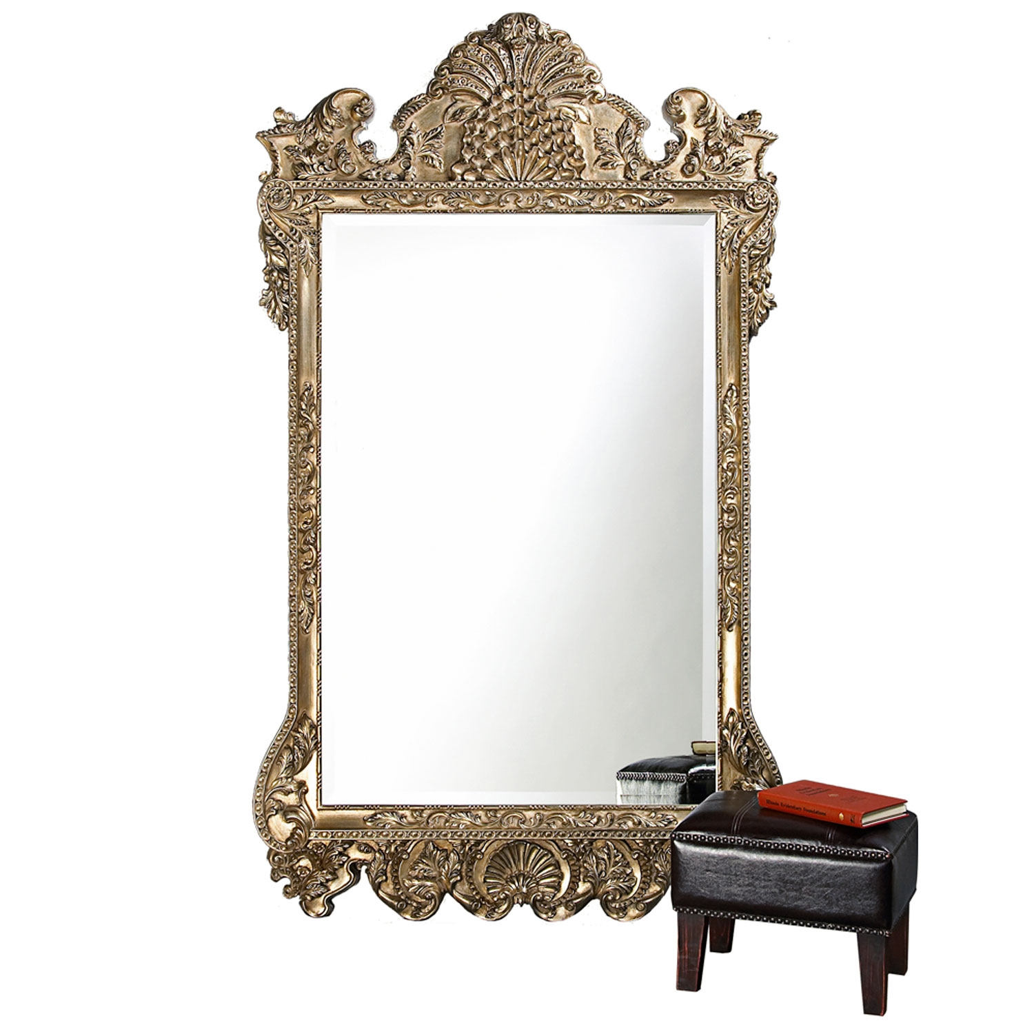Marquette Antique Silver Rectangle Mirror Howard Elliott Throughout Rectangular Silver Mirror (Image 7 of 15)