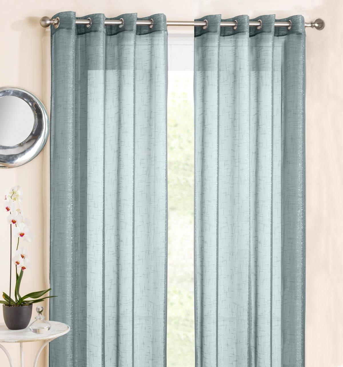 Marrakesh Eyelet Voile Panel Duck Egg Blue Affordable Curtain In Duck Egg Blue Striped Curtains (View 15 of 15)