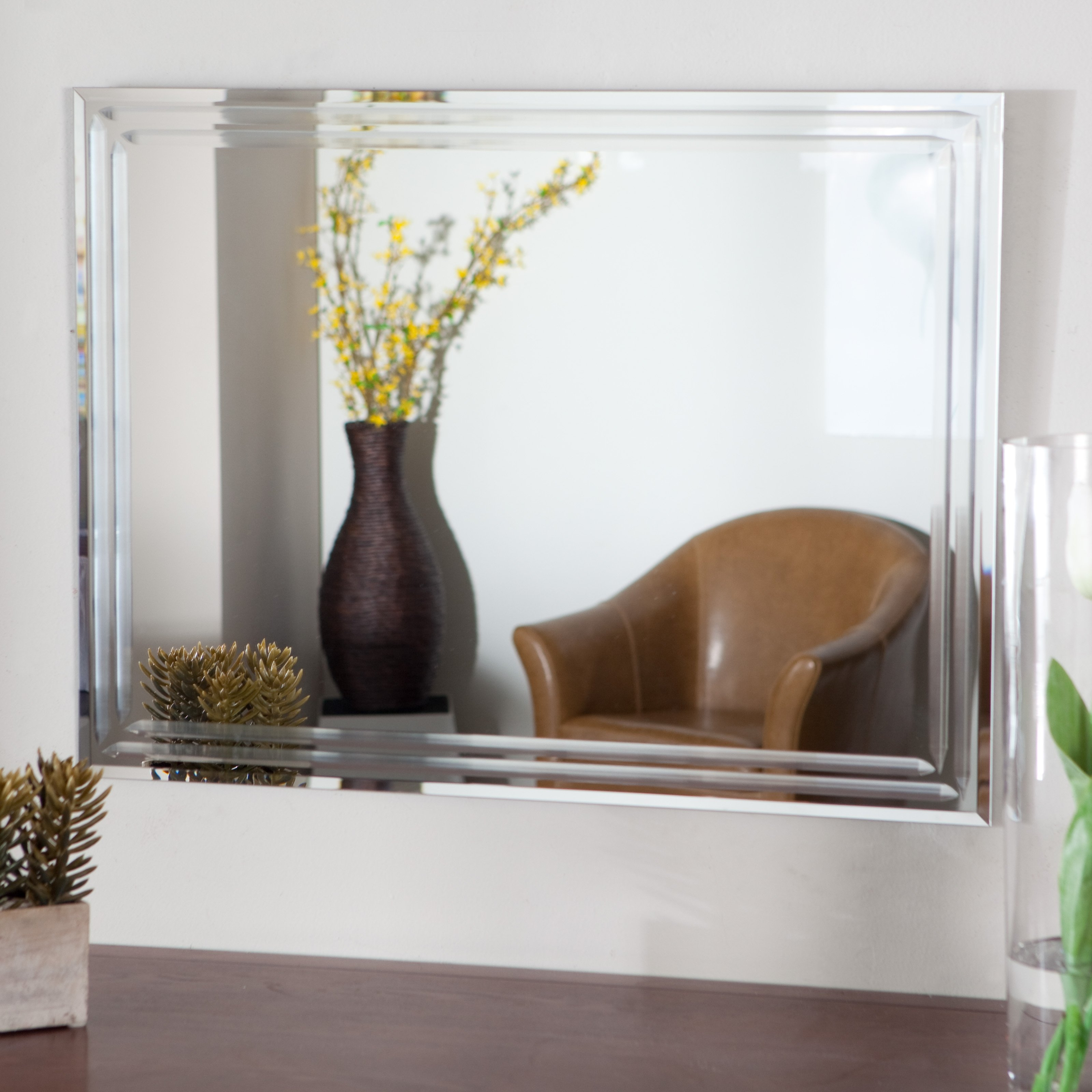 Marvelous Ideas Large Frameless Wall Mirrors Shining Modern Silver Regarding Frameless Large Wall Mirror (Image 11 of 15)