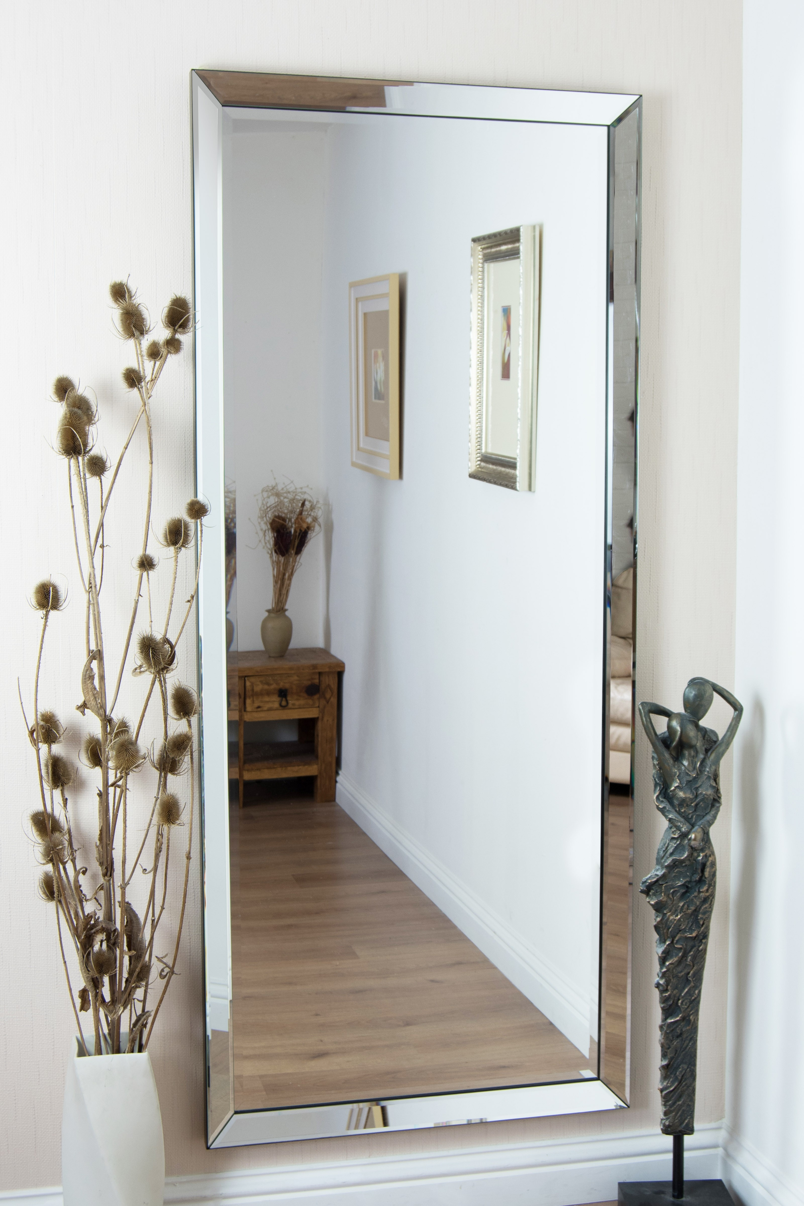 Marvelous Ideas Large Frameless Wall Mirrors Shining Modern Silver Regarding Frameless Large Wall Mirror (Image 10 of 15)