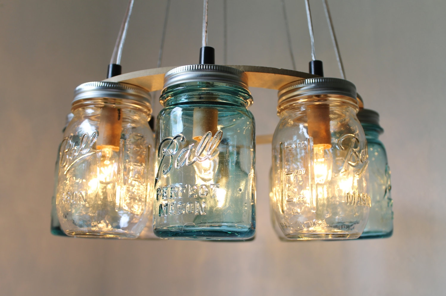 Mason Jar Chandelier Beach House Mason Jar Lighting Fixture Within Chandelier Accessories (Image 13 of 15)