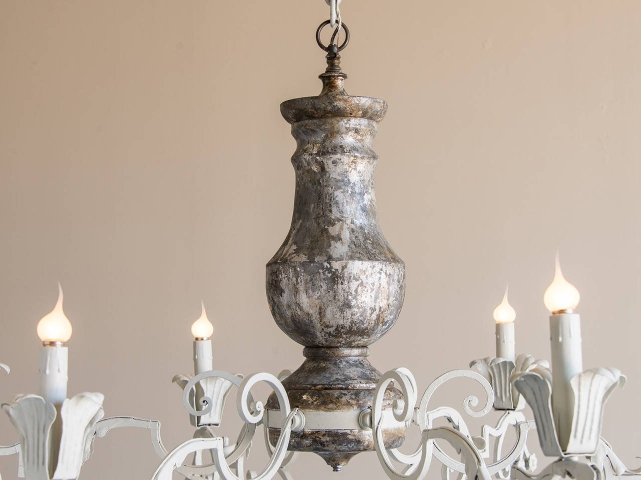 Massive Vintage French Silvered Wood And Iron Chandelier Circa Throughout French Wooden Chandelier (Image 10 of 15)