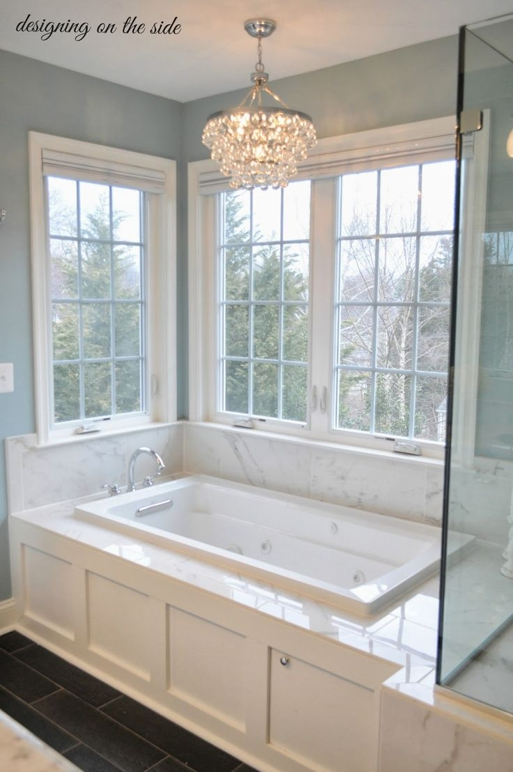 Master Bath Marble Tile Sw Rain Crystal Chandelier Tile That Inside Bathroom Chandeliers Sale (Image 13 of 15)