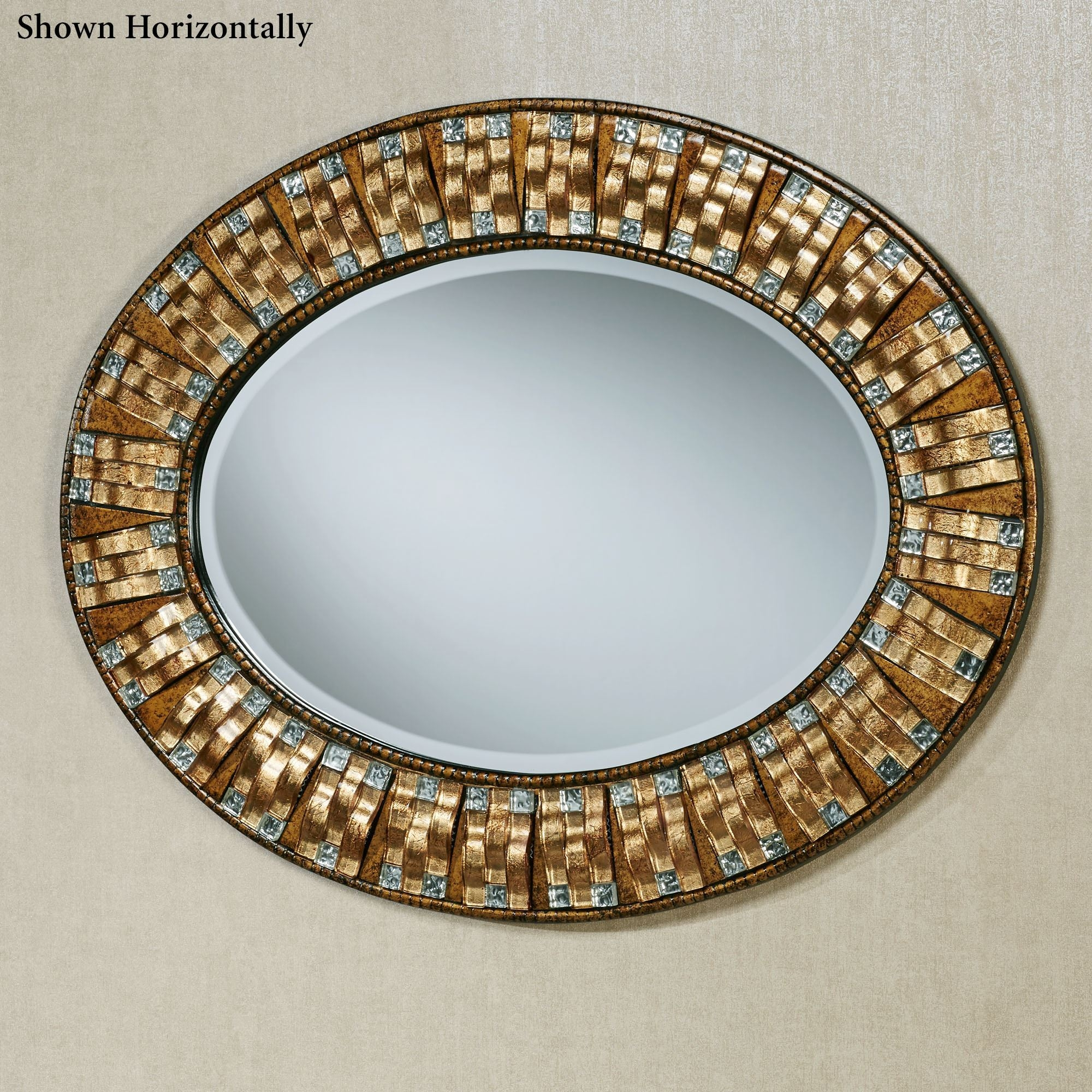Maybelle Mosaic Oval Wall Mirror Intended For Mosaic Wall Mirrors (Image 9 of 15)