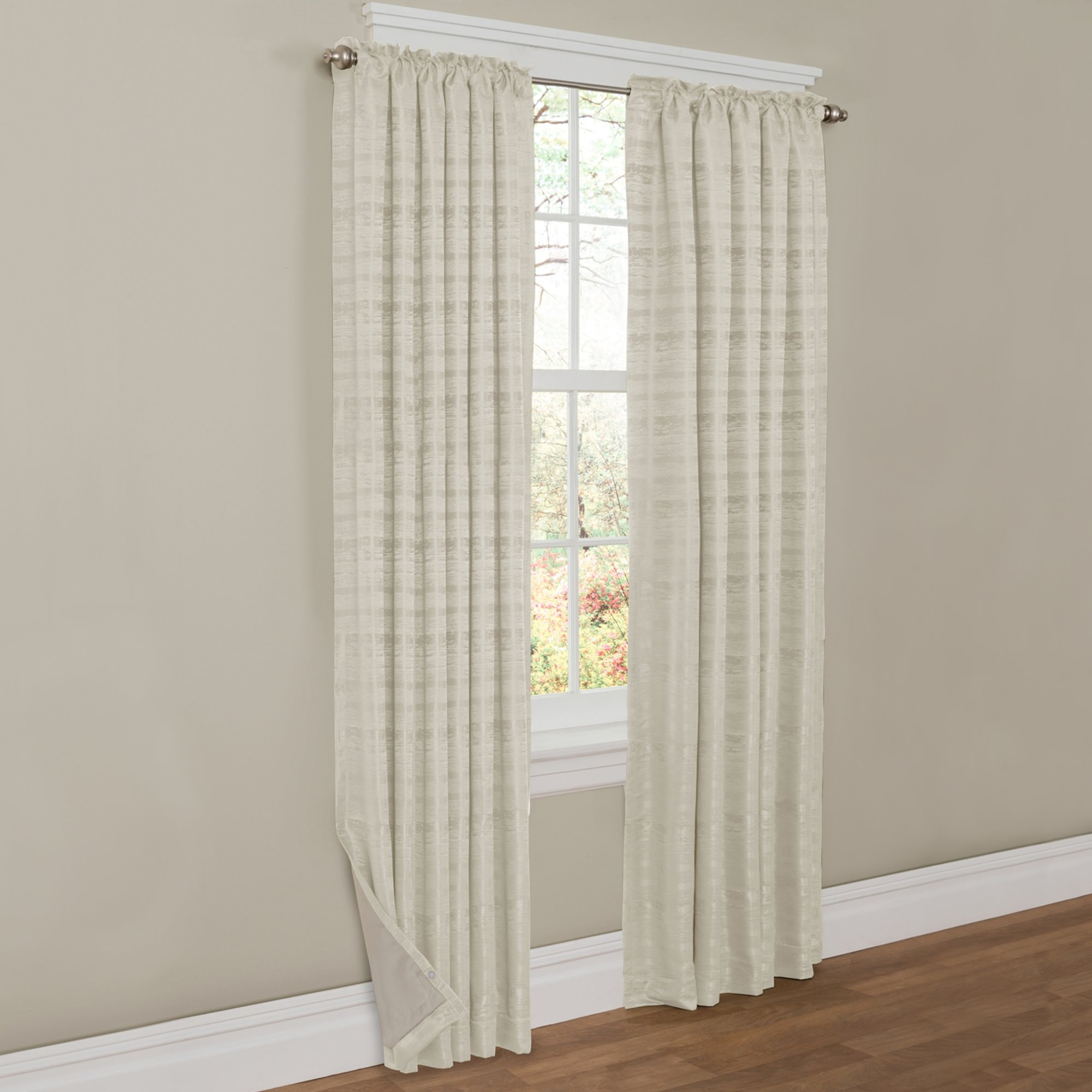 Maytex Francesca Striped Blackout Thermal Rod Pocket Single With Regard To Striped Thermal Curtains (Image 10 of 15)