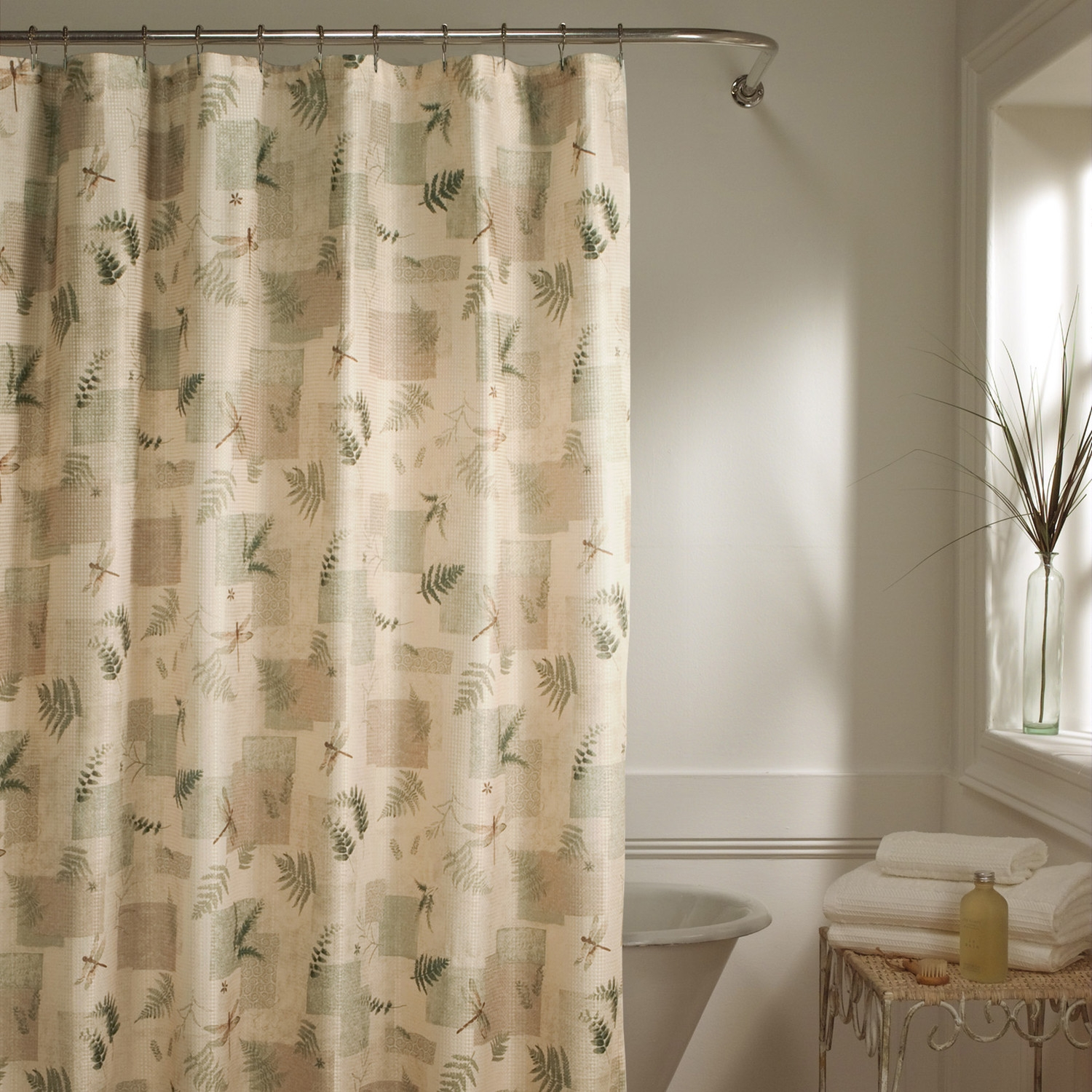 Maytex Julia Natural Fabric Shower Curtain For Natural Fabric Curtain (Image 9 of 15)