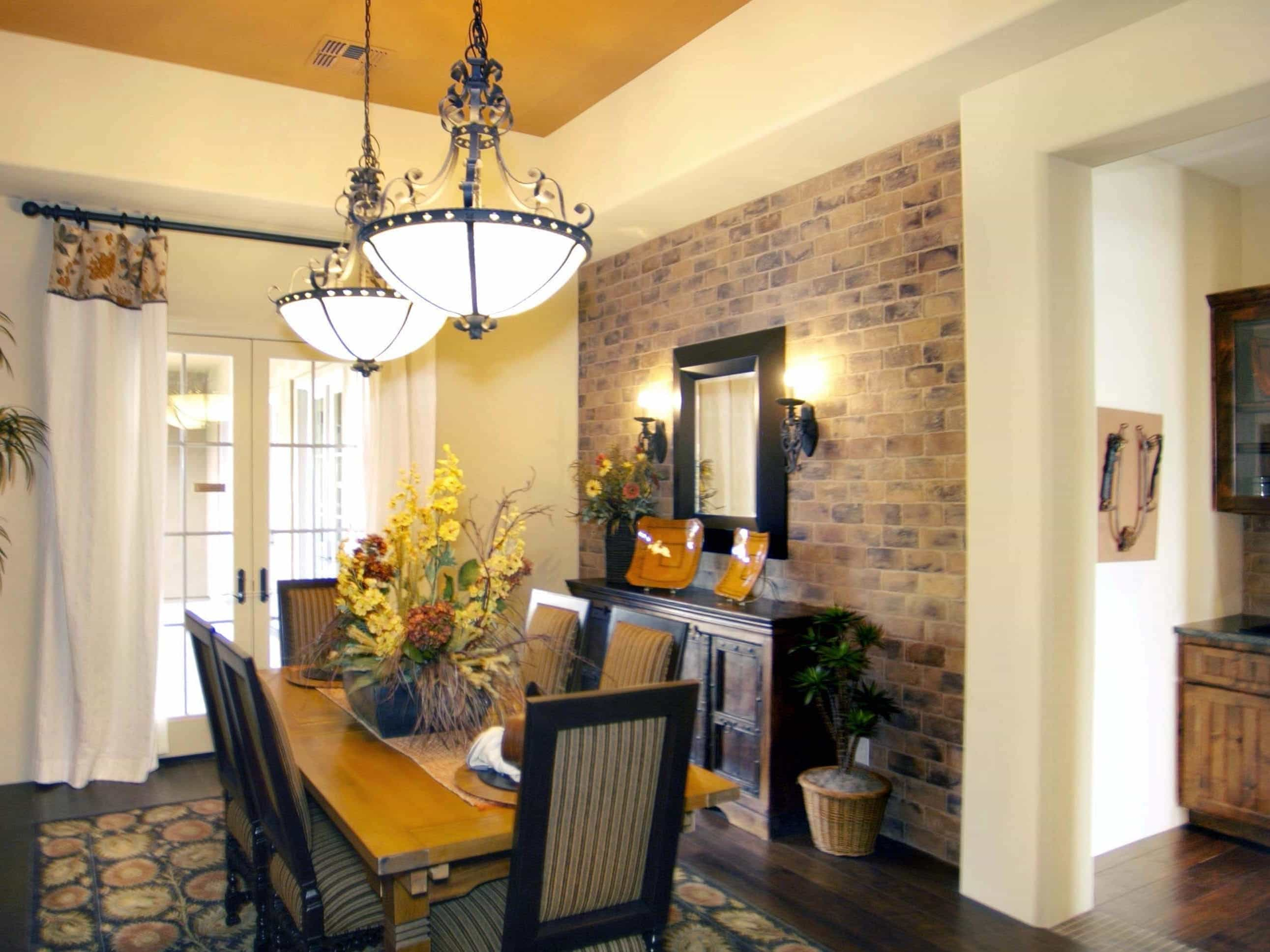 Mediterranean Style Dining Room With Painted Ceiling (Image 16 of 30)