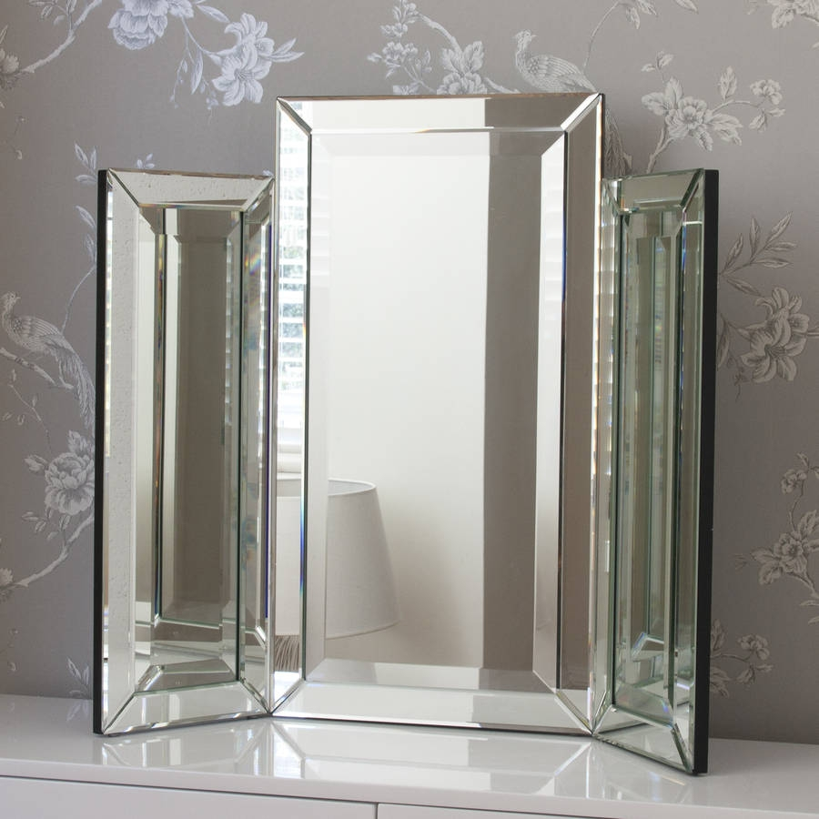Medium Bevelled Dressing Table Triple Mirror Decorative Mirrors Pertaining To Triple Mirrors (View 3 of 15)