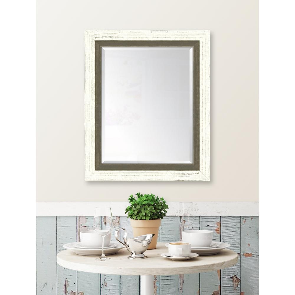 Melissa Van Hise 30 In X 36 In Framed French White Large And With Large Brown Mirror (View 12 of 15)