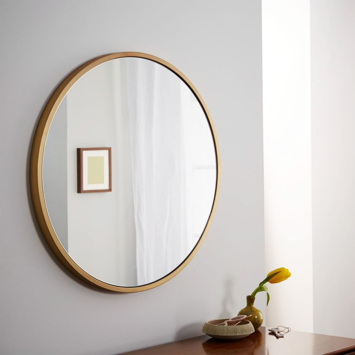 Metal Framed Round Wall Mirror Antique Brass Main Entry In Mirror Circles For Walls (Image 11 of 15)