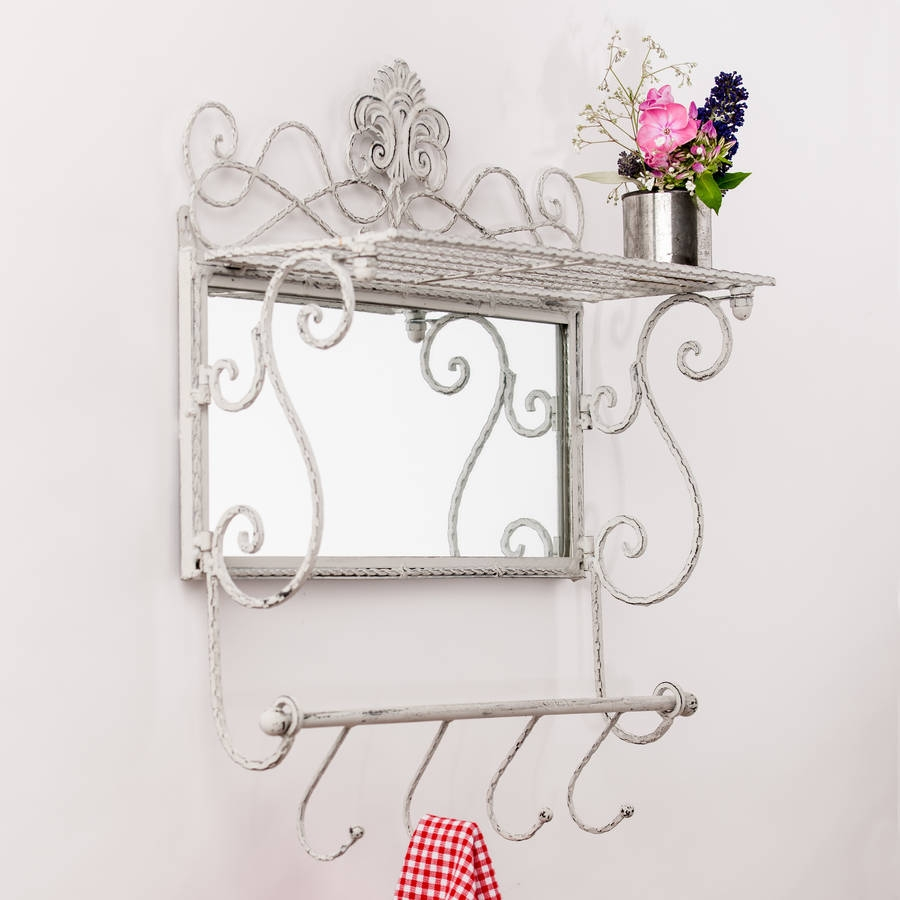 Metal White Grey Shelf Mirror With Hooks Hand Crafted Mirrors Regarding White Metal Mirror (Image 9 of 15)