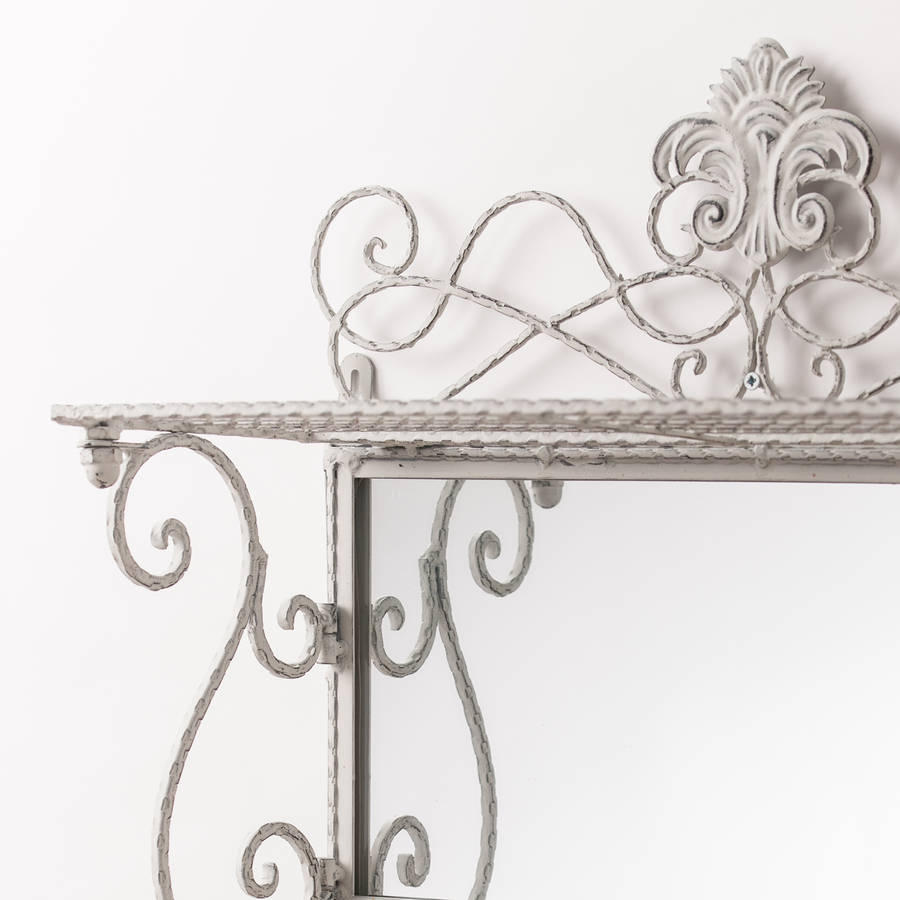 Metal White Grey Shelf Mirror With Hooks Hand Crafted Mirrors Regarding White Metal Mirror (Image 8 of 15)