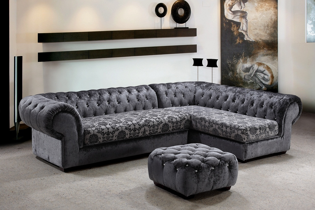 Metropolitan 3 Piece Fabric Sectional Sofa Ottoman With Crystals Inside Elegant Sectional Sofas (Image 12 of 15)