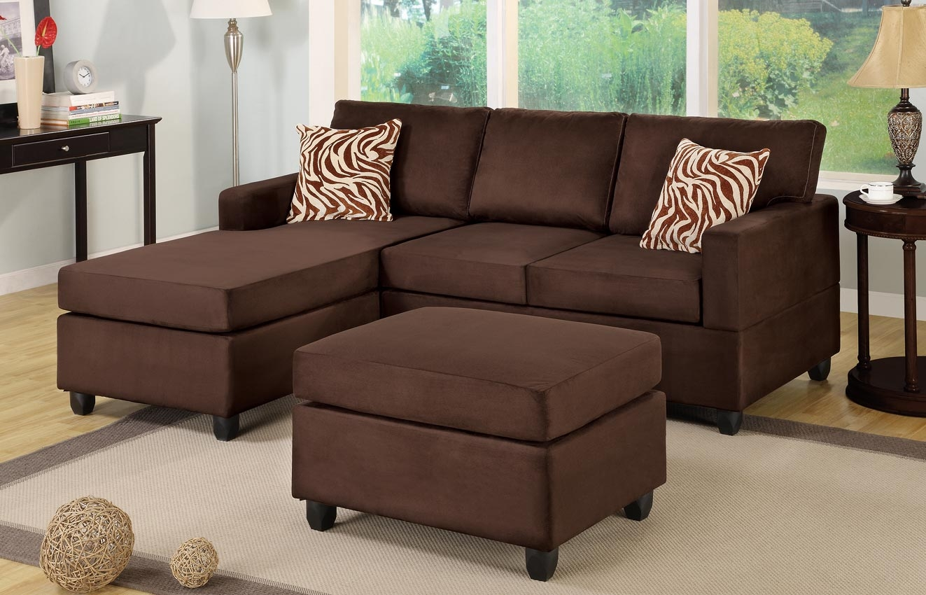 Microfiber Plush Saddle Sectional Sofa With Ottoman Within Champion Sectional Sofa (Image 11 of 15)
