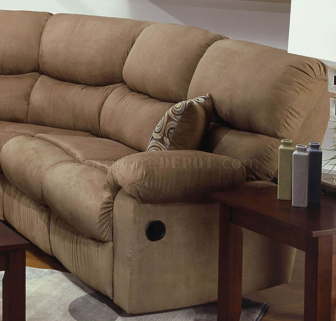Microfiber Reclining Sectional Sofa Wthrow Pillows Throughout Camel Sectional Sofa (View 11 of 15)