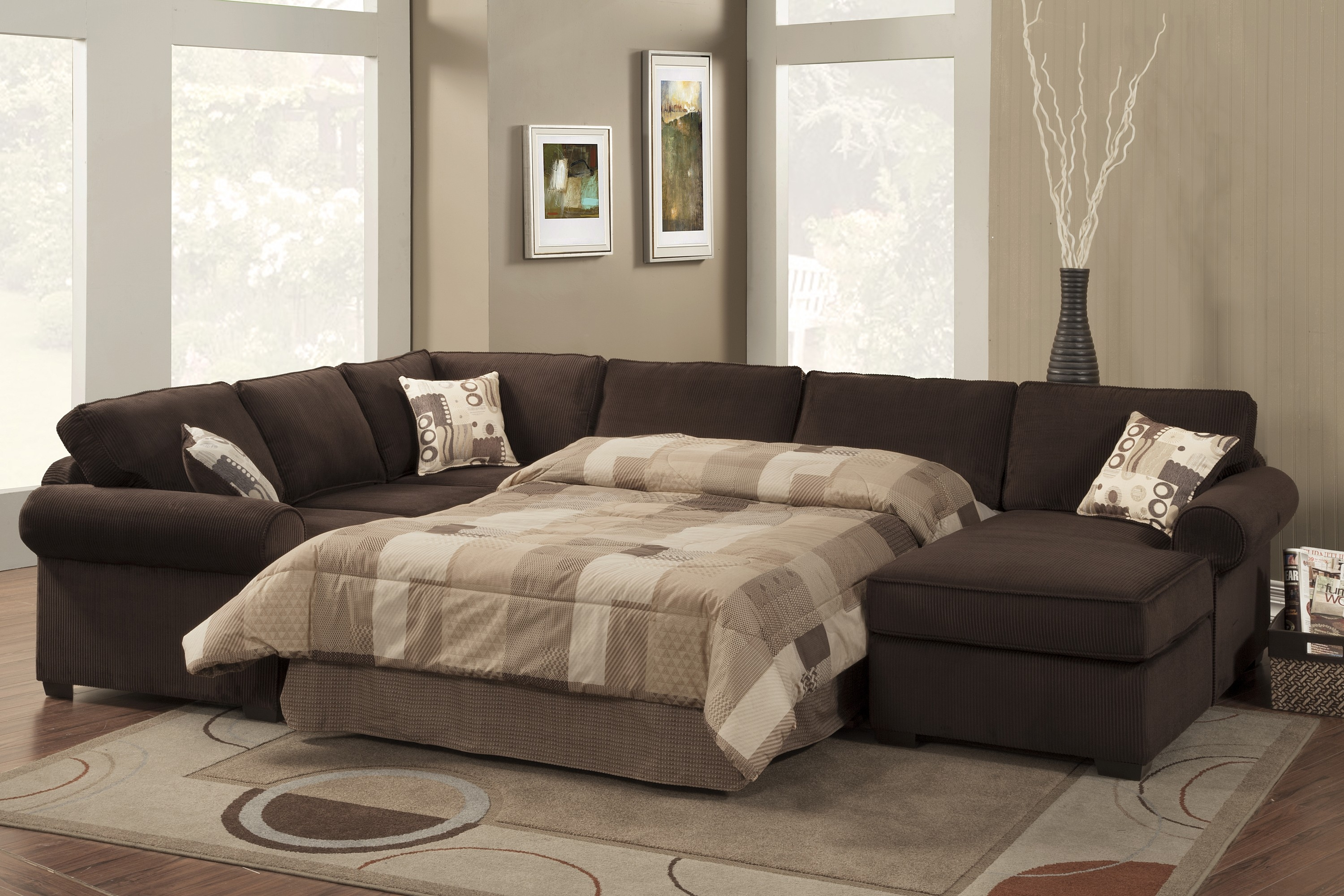 Microfiber Sectional 2 Pc Charcoal Microfiber Sectional Sofa With Regarding 3 Piece Sectional Sleeper Sofa (Image 13 of 15)