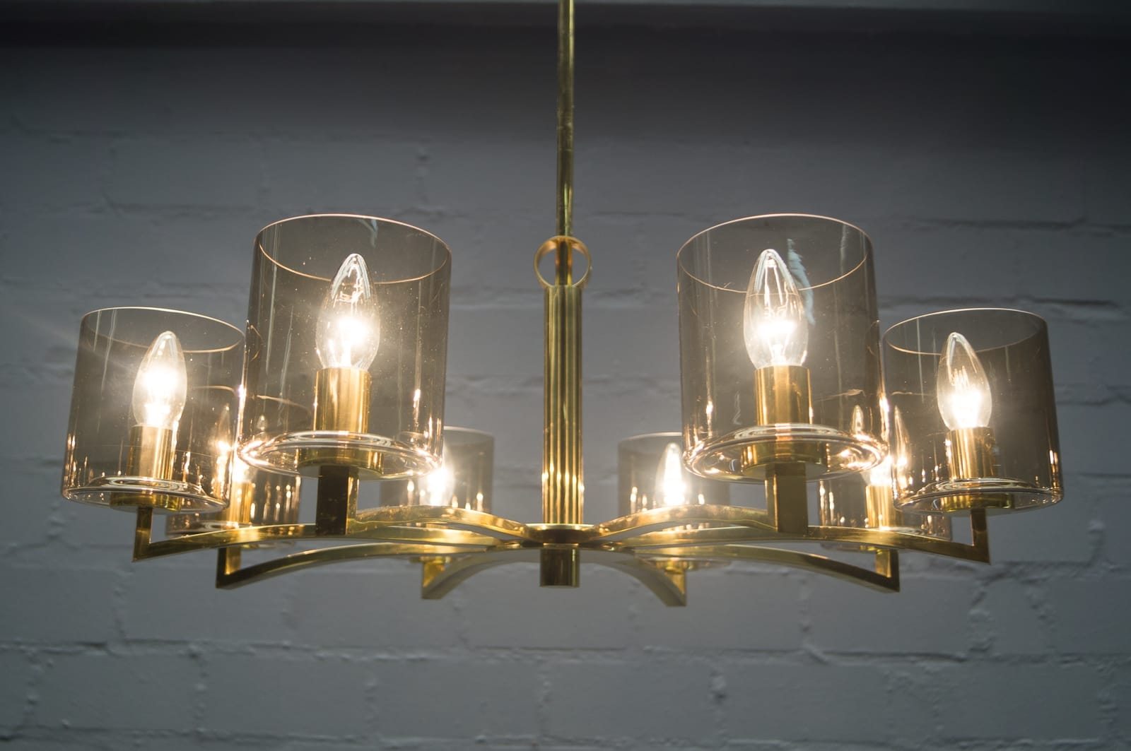 Mid Century German Smoked Glass And Brass Chandelier 1950s For In Smoked Glass Chandelier (Image 10 of 15)