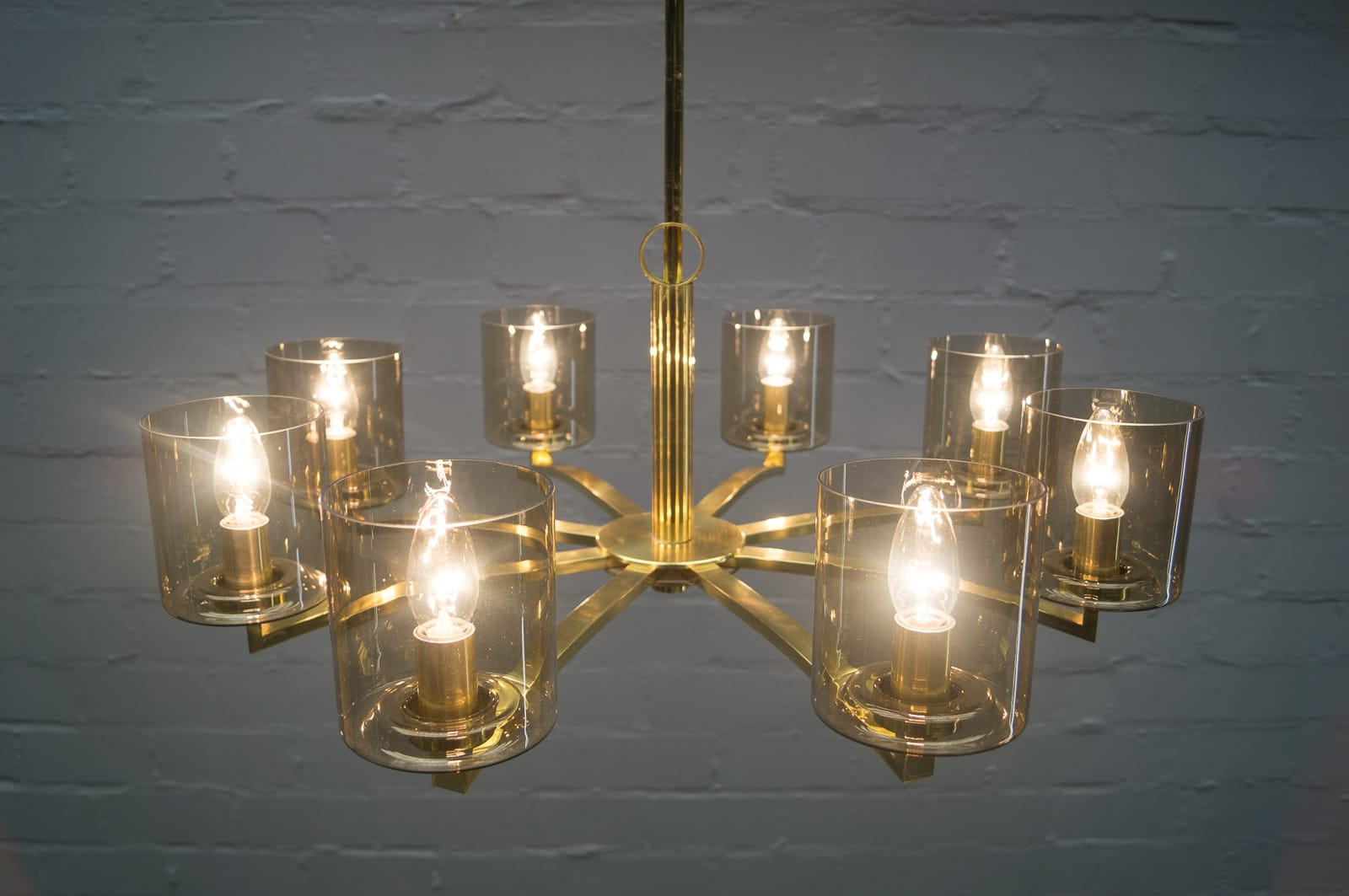 Mid Century German Smoked Glass And Brass Chandelier 1950s For With Regard To Smoked Glass Chandelier (Image 11 of 15)