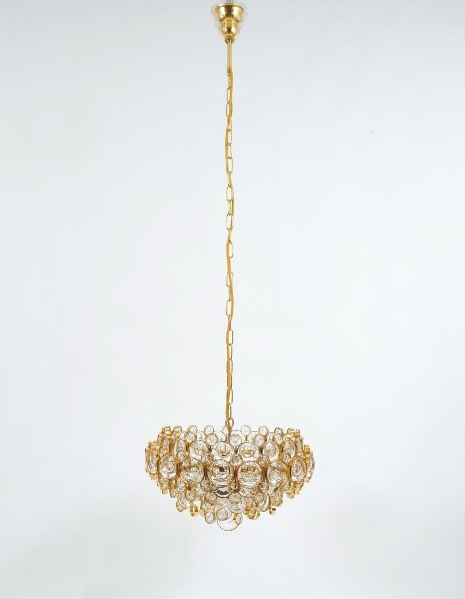 Mid Century Gilt Brass And Glass Chandelier From Palwa For Sale At For Brass And Glass Chandelier (Image 8 of 15)