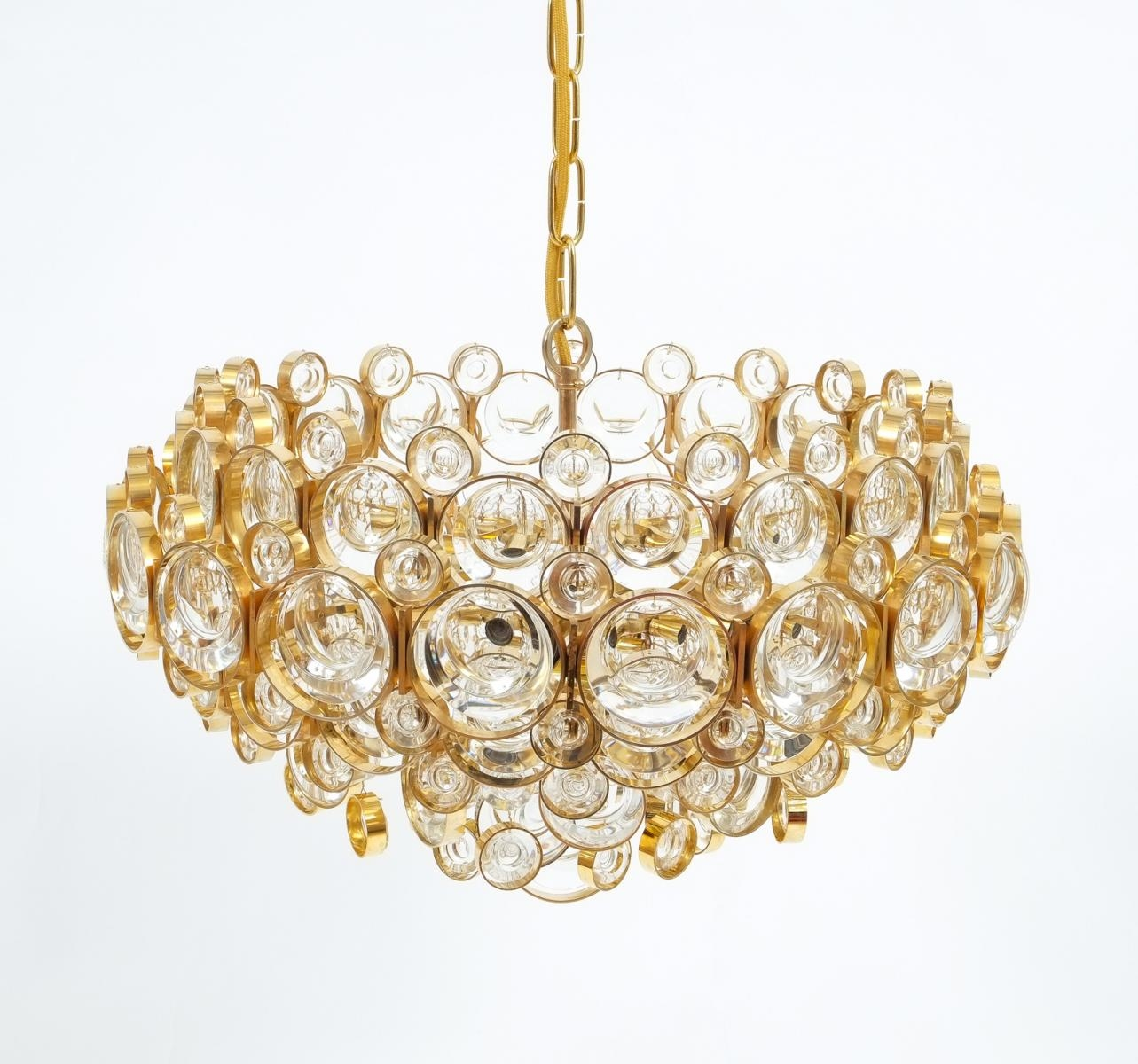 Mid Century Gilt Brass And Glass Chandelier From Palwa For Sale At In Brass And Glass Chandelier (Image 9 of 15)