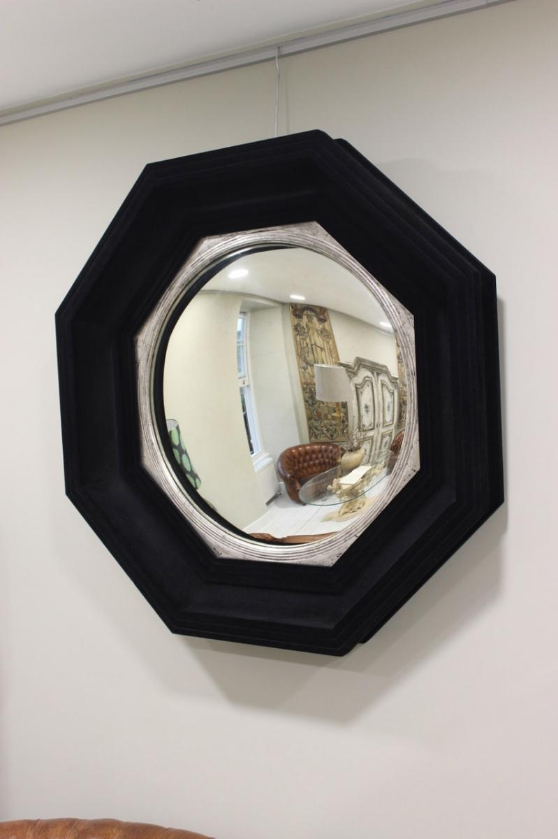 Mid Century Large Octagonal Flocked Black Convex Mirror For Sale Intended For Black Convex Mirror (Image 7 of 15)