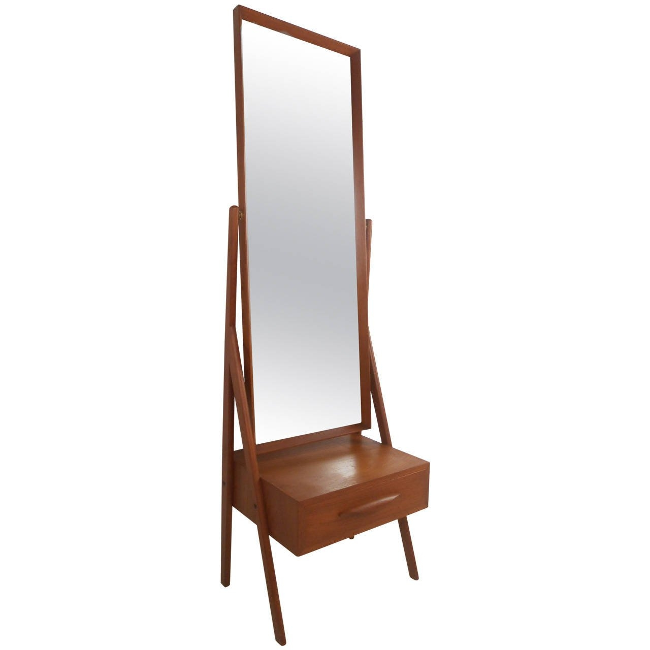 Mid Century Modern Arne Vodder Teak Cheval Dressing Mirror For With Dressing Mirror (Image 13 of 15)