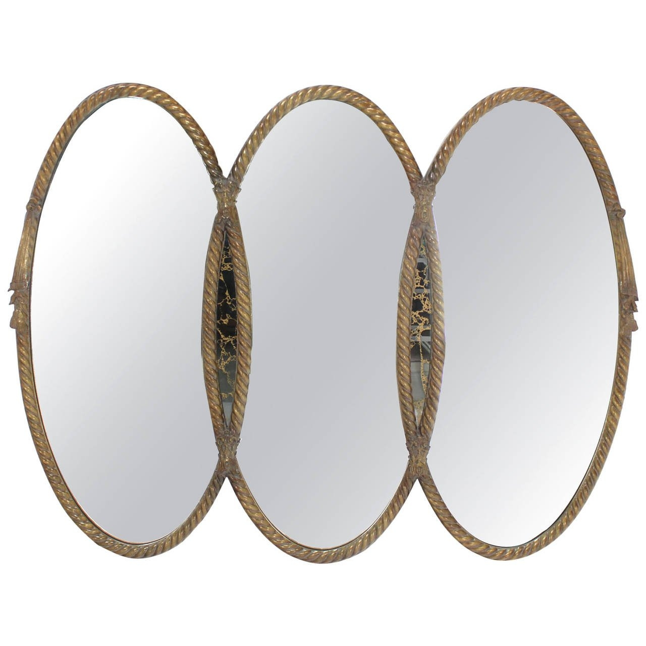 Mid Century Modern Triple Oval Gold Mirror With Rope Edge Frame With Triple Oval Mirror (Image 7 of 15)
