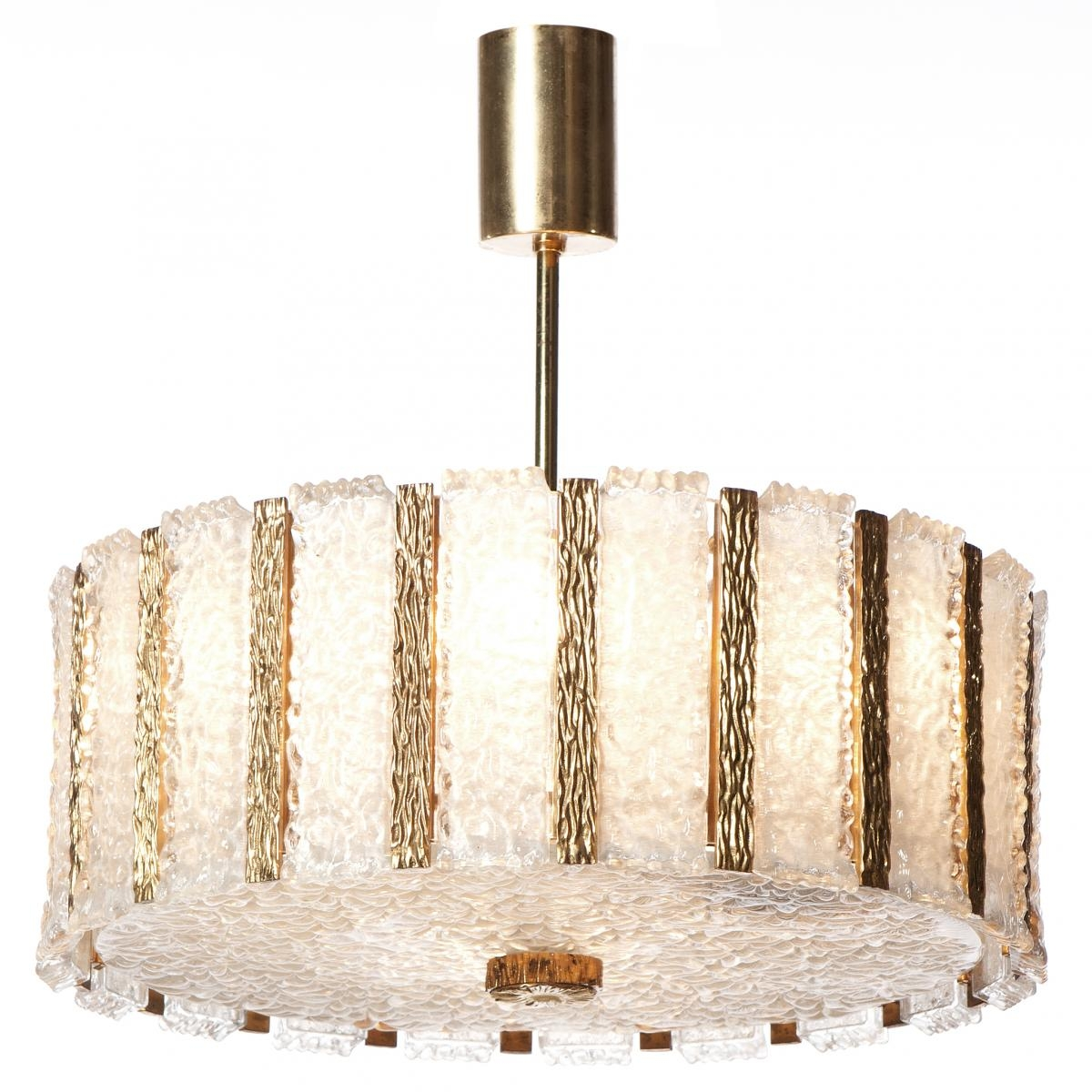 Mid Century Nine Light Gilt Brass Frosted Glass Chandelier From In Brass And Glass Chandelier (Image 10 of 15)