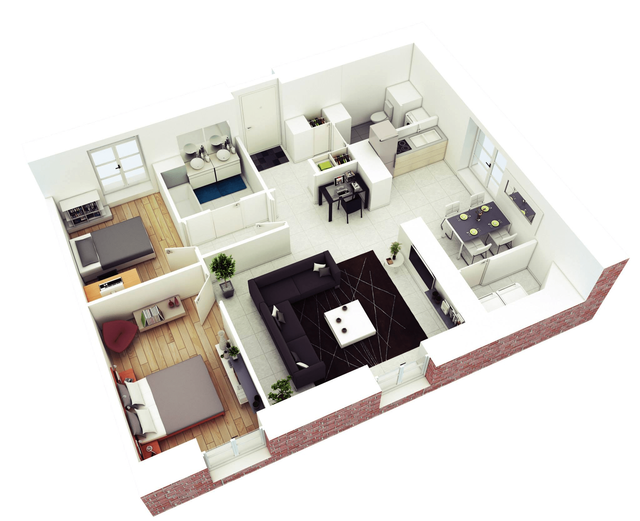 Minimalist 2 Bedroom Simple House Floor Plans 3D Layout (Image 11 of 17)