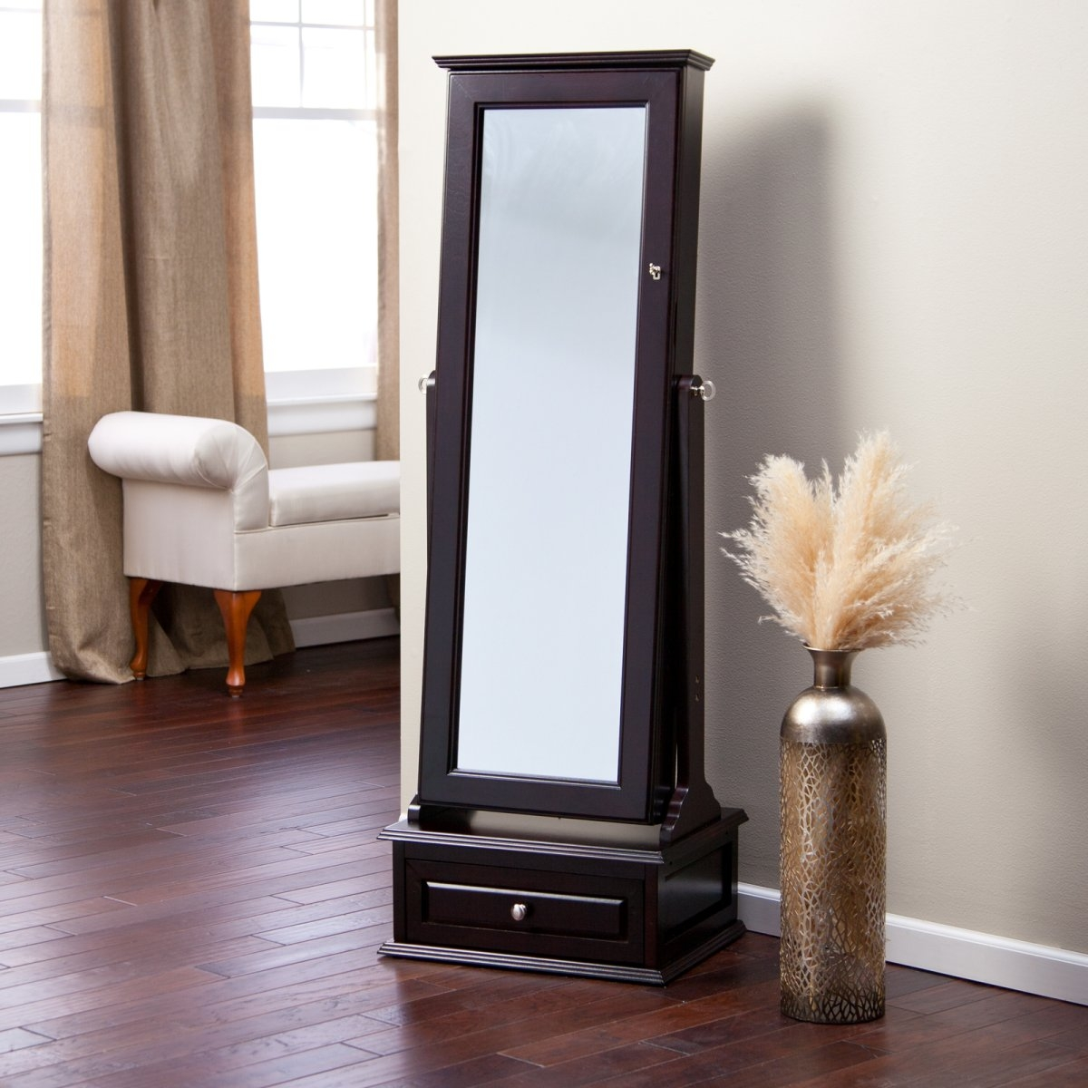 Minimalist Apartment Furniture And Decoration With Brown Full In Long Brown Mirror (View 2 of 15)