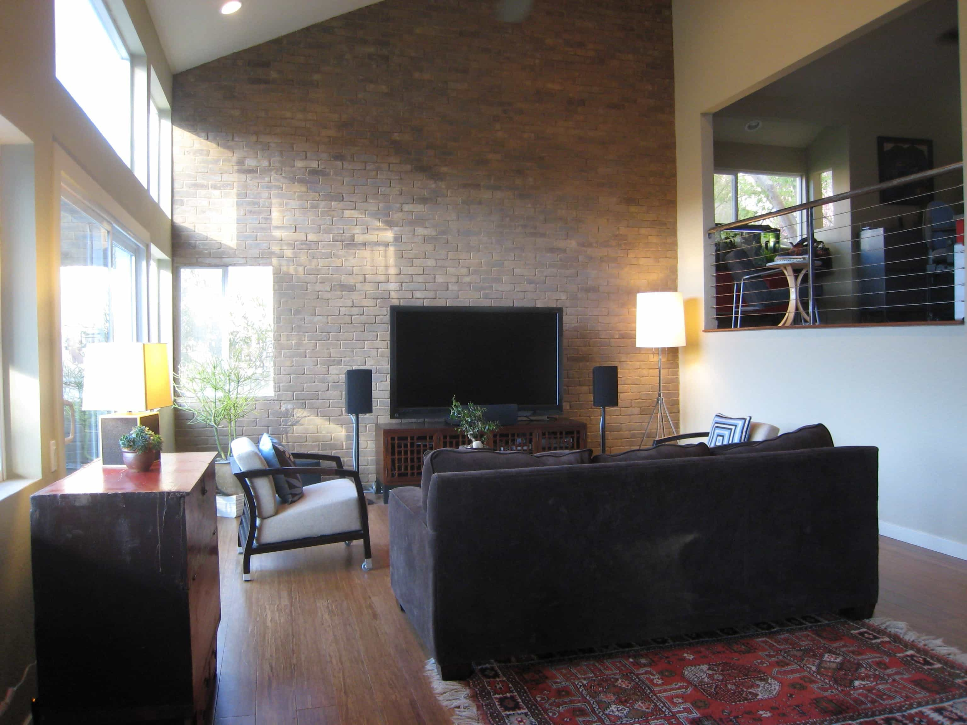 Minimalist Modern Living Room With Exposed Brick Wall (Image 18 of 30)