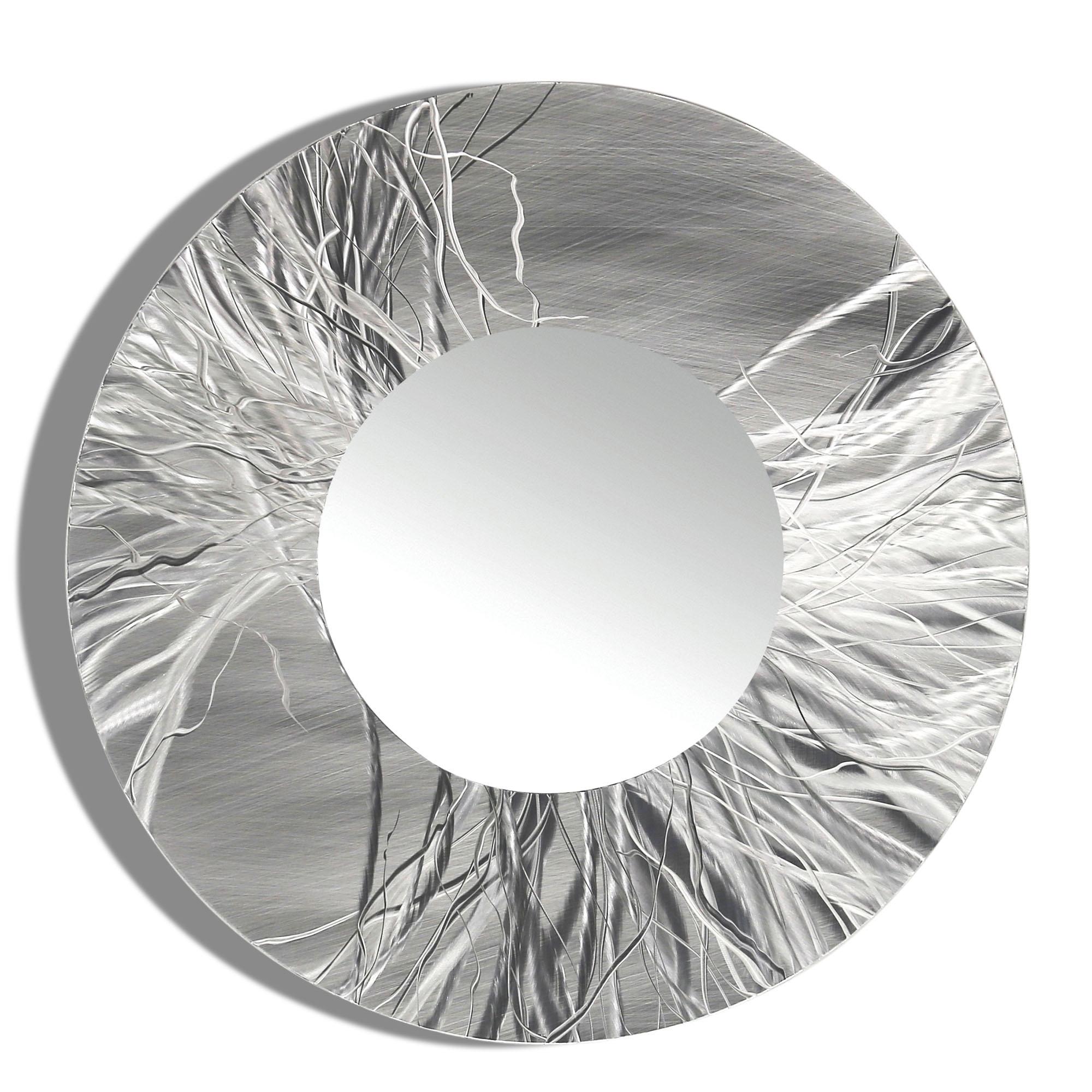Mirror 104 Round Silver Contemporary Metal Wall Art Round Mirror Inside Round Silver Mirror (Image 7 of 15)