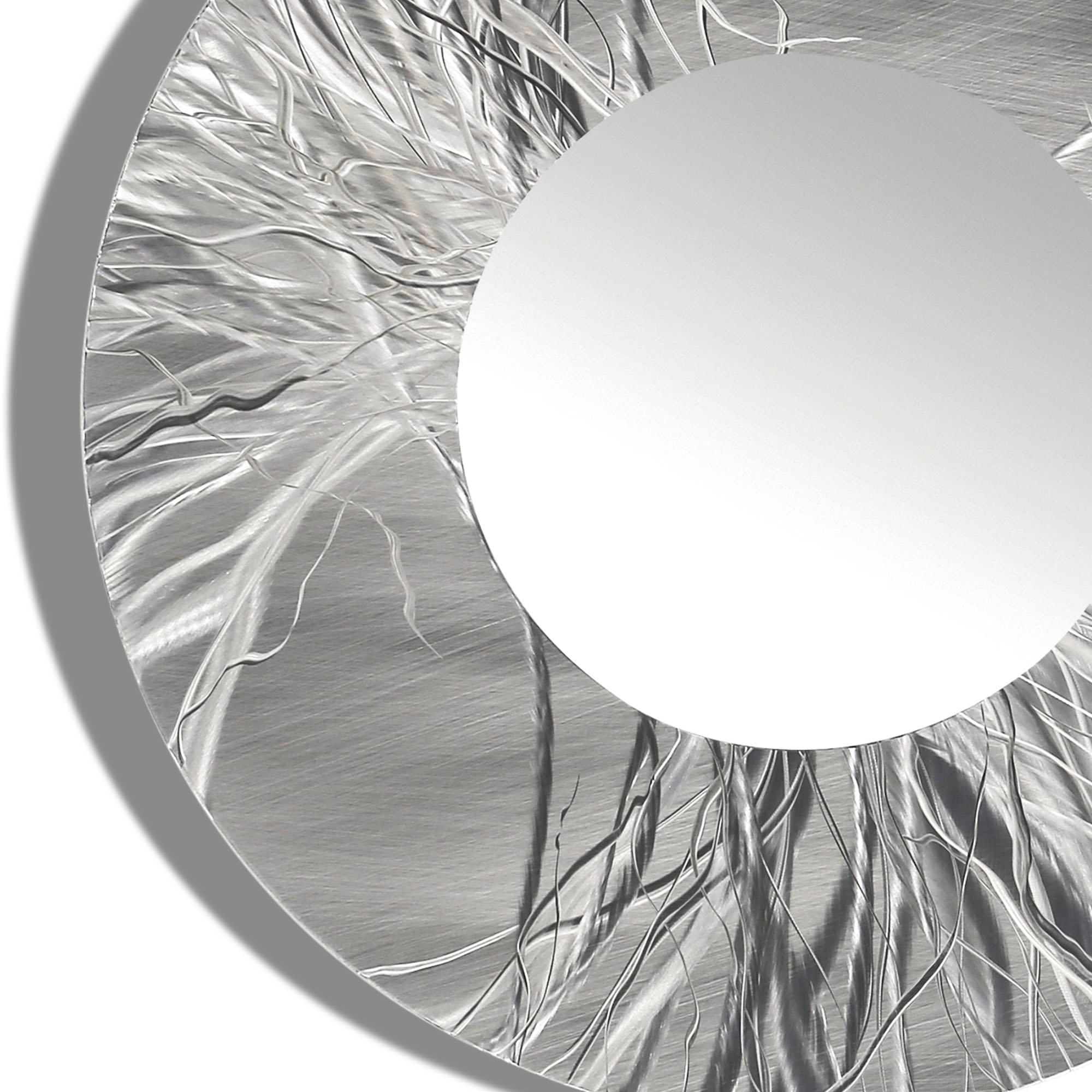 Mirror 104 Round Silver Contemporary Metal Wall Art Round Mirror Intended For Large Round Metal Mirror (View 14 of 15)