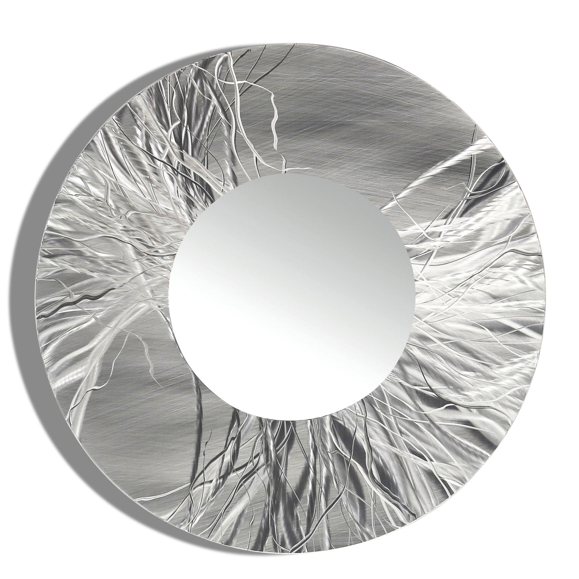 Mirror 104 Round Silver Contemporary Metal Wall Art Round Mirror Pertaining To Contemporary Round Mirrors (Image 10 of 15)