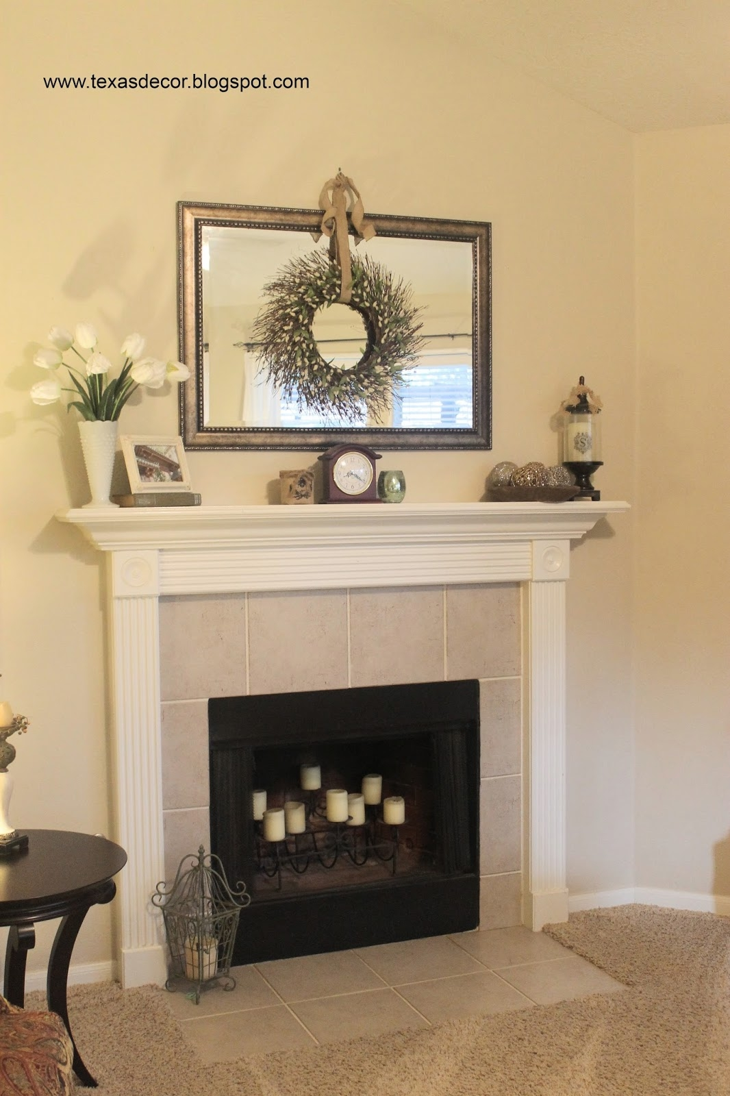 Mirror Above Fireplace Home Sweet Home Pinterest Mantle And Throughout Mantlepiece Mirrors (Image 8 of 15)