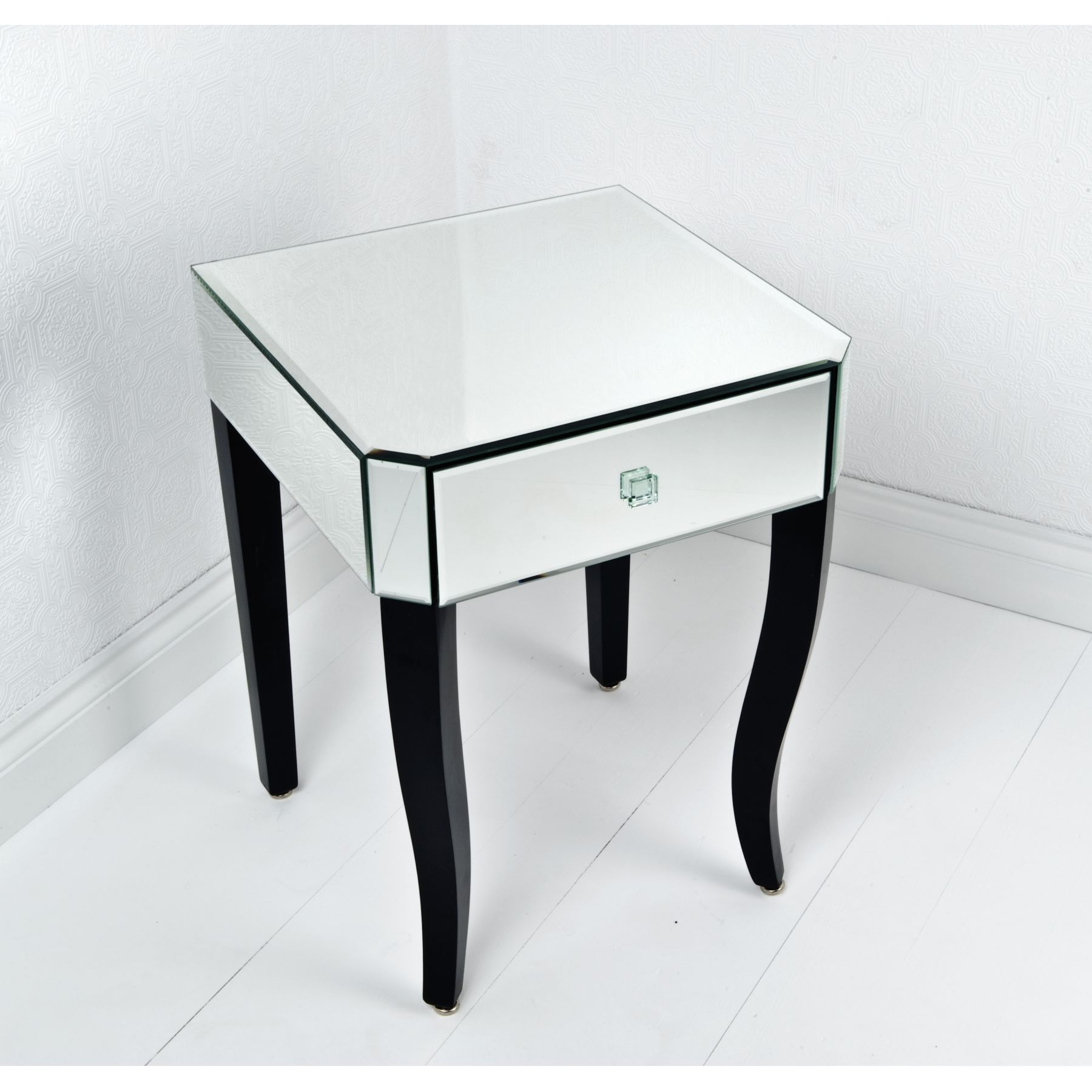 Mirror Bedside Table Set Of Two Mirrored Glass Bedside Tables In Venetian Mirror Table (Image 5 of 15)