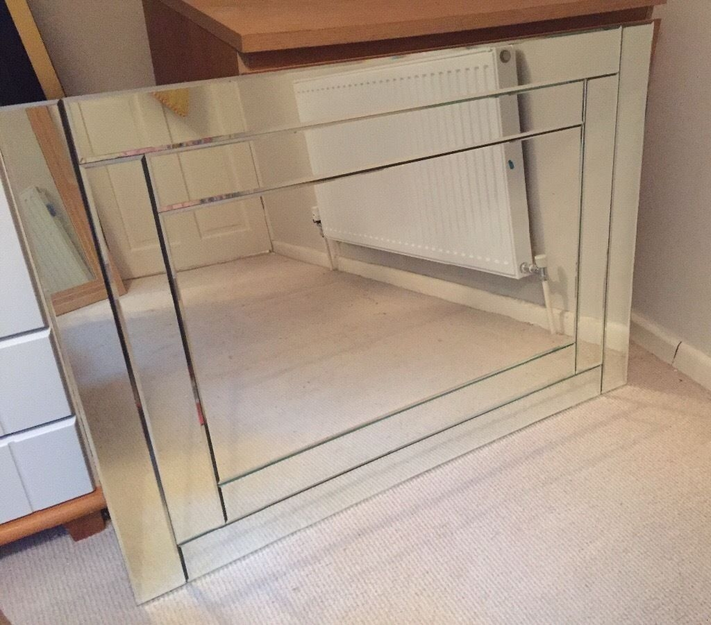 Mirror Double Bevelled Edge Glass Wall Mirror Silver In Carlton Regarding Double Bevelled Mirror (Photo 1 of 15)