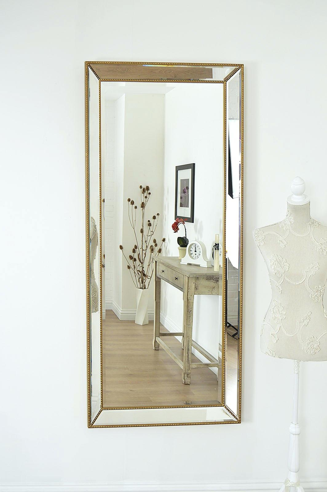 Mirror For Powder Rooms Large Gold Edge Venetian Bevelled Big Wall Inside Long Gold Mirror (View 9 of 15)