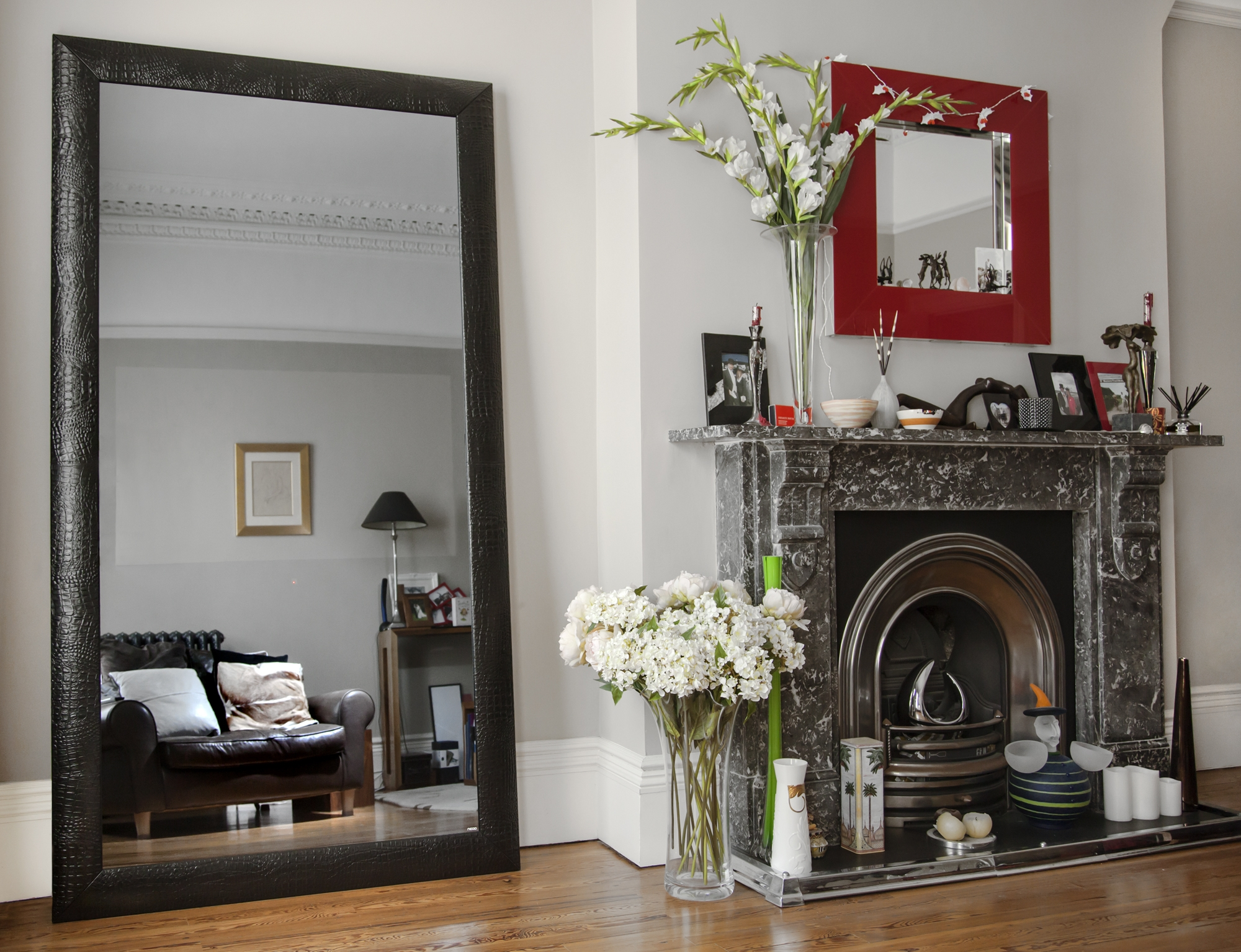 Mirror Full Length Sandberg Furniture Mirror On Mirror Full In Black Leather Framed Mirror (Image 9 of 15)