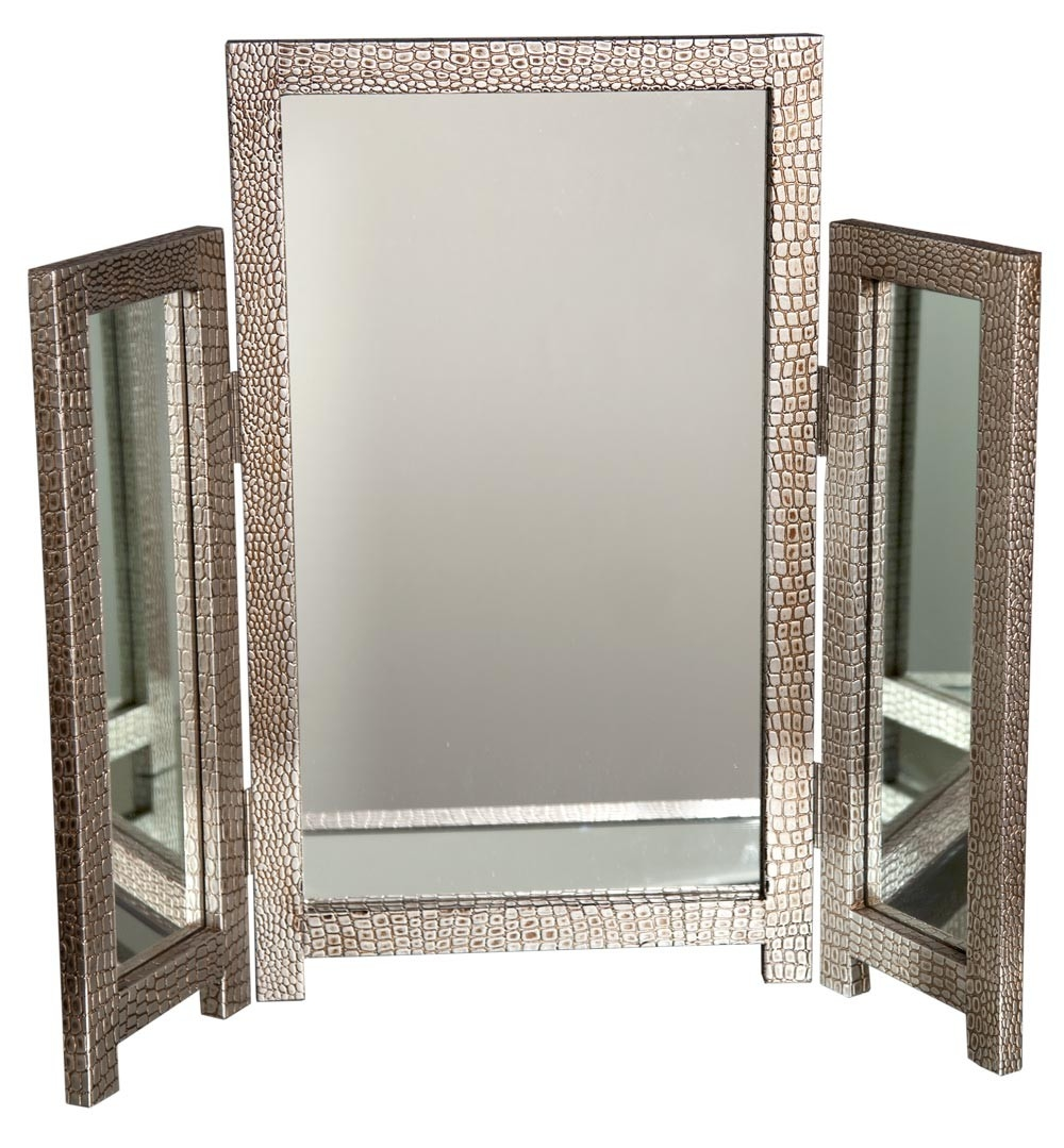 Mirror Moc Croc Silver Dressing Table Mirror Pertaining To Silver Dressing Table Mirror (Image 11 of 15)