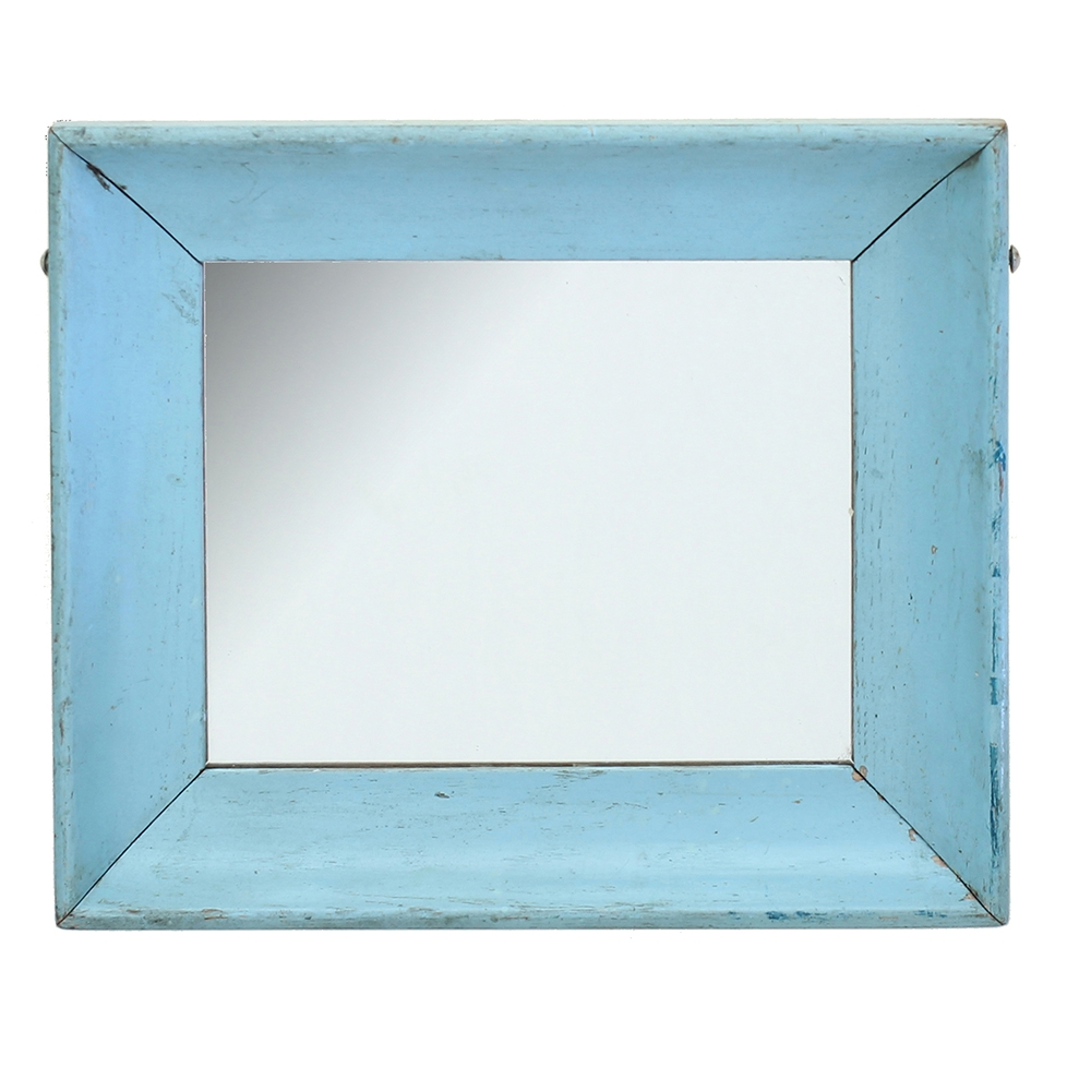 Mirror W Blue Painted Wood Frame Throughout Mirror With Blue Frame (Image 8 of 15)