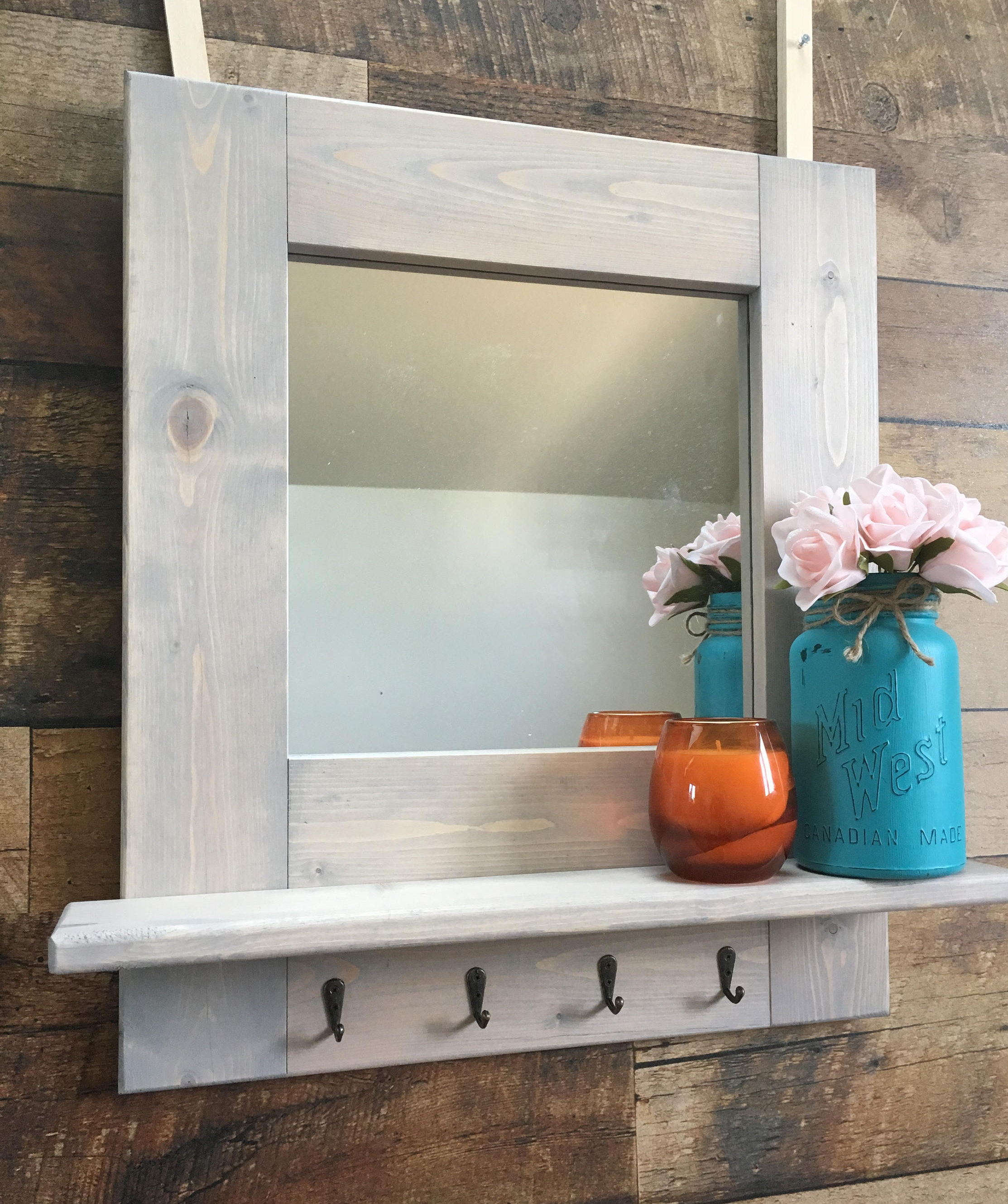 Mirror With Shelf Etsy Regarding Shabby Chic Mirror With Shelf (Image 11 of 15)