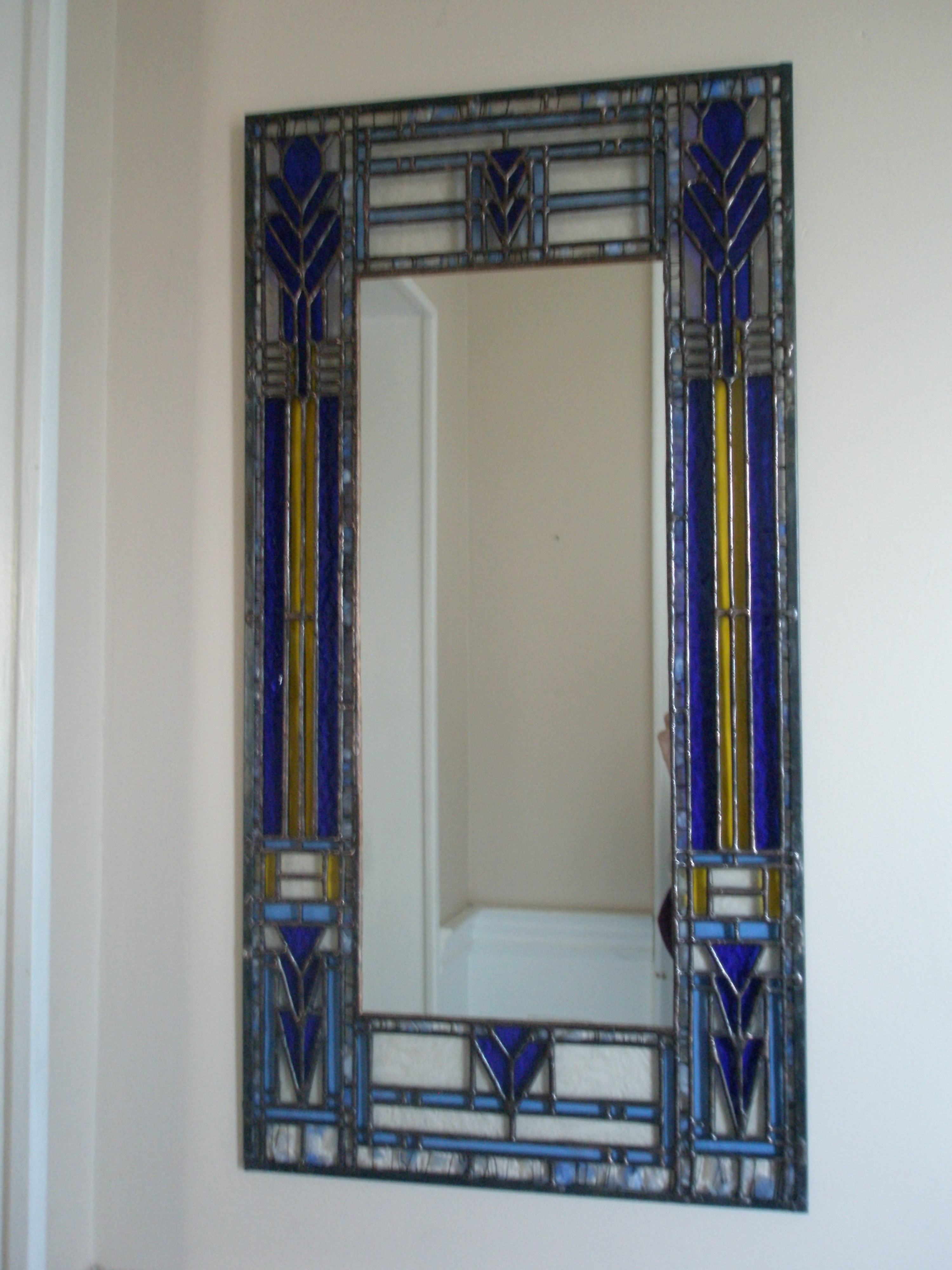 Mirror With Stained Glass Frame Inspired Frank Lloyd Wright Pertaining To Mirror With Blue Frame (Image 9 of 15)