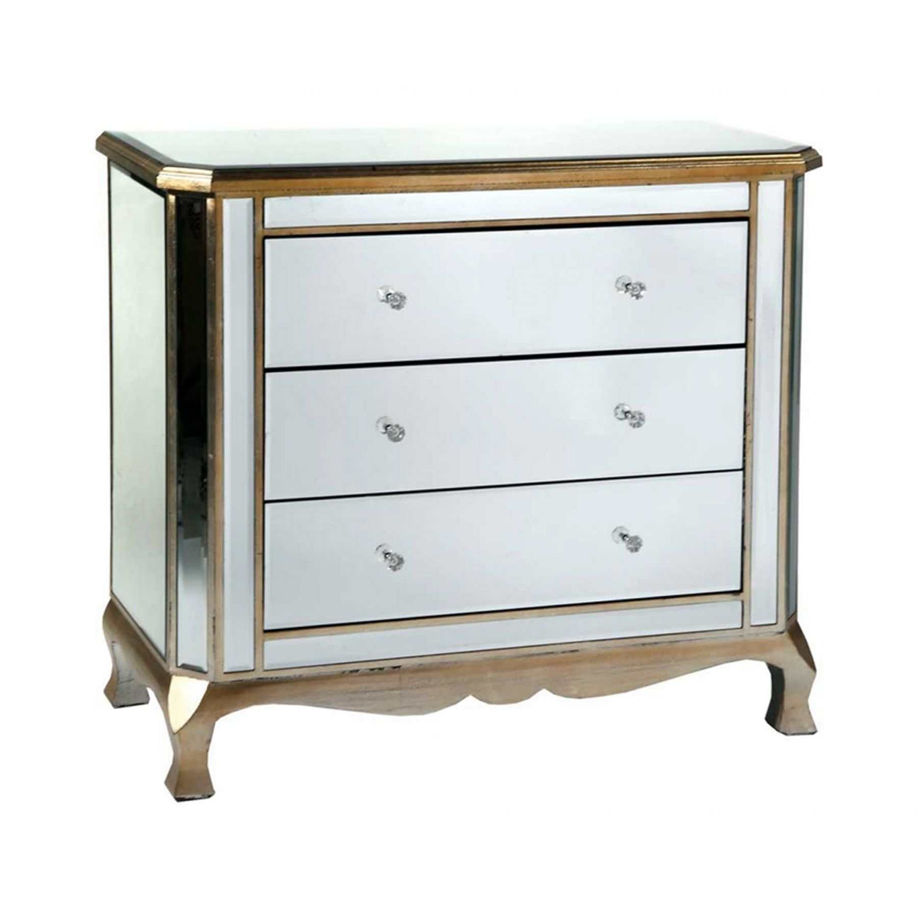 Mirrored Chest Of Drawers Gold Trim Venetian Furniture Pertaining To Venetian Mirrored Chest Of Drawers (Image 5 of 15)