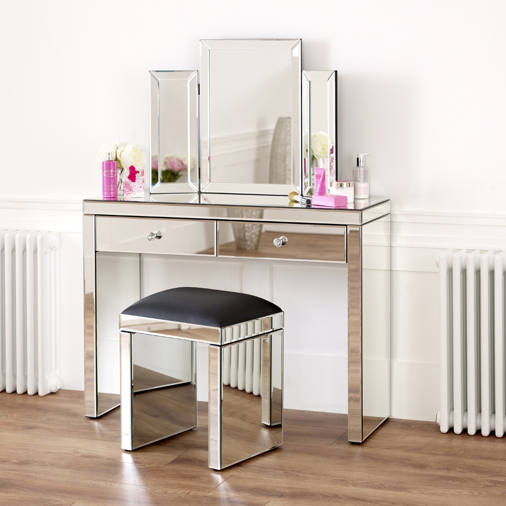 Mirrored Dressing Table Set With Black Stool Throughout Venetian Mirror Table (Image 7 of 15)